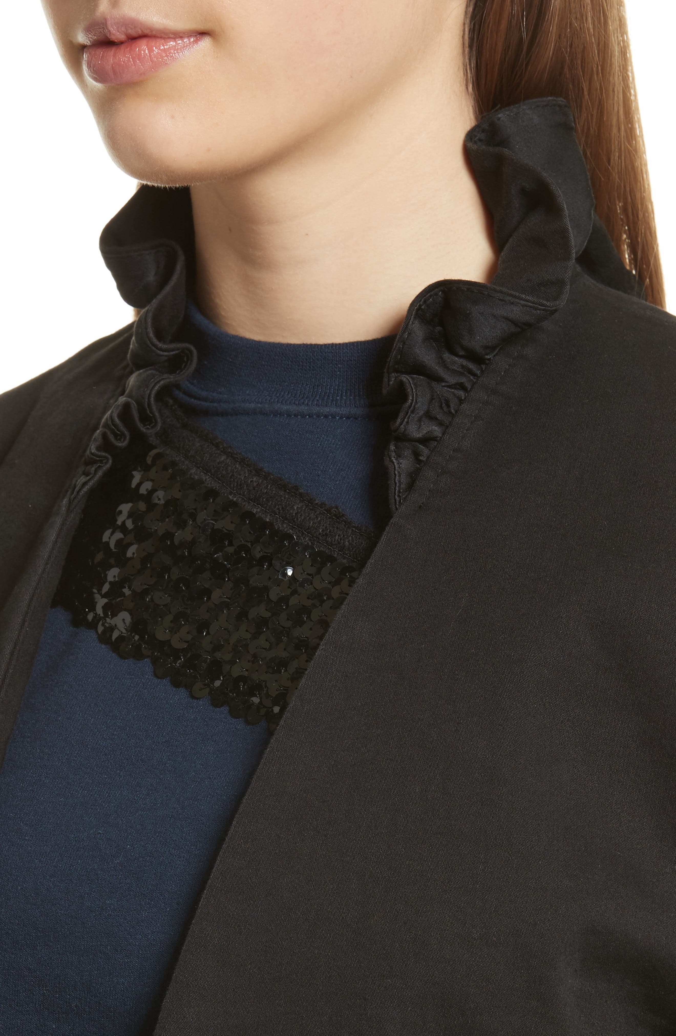 Ruffle Collar Crop Denim Jacket,                             Alternate thumbnail 4, color,                             Black
