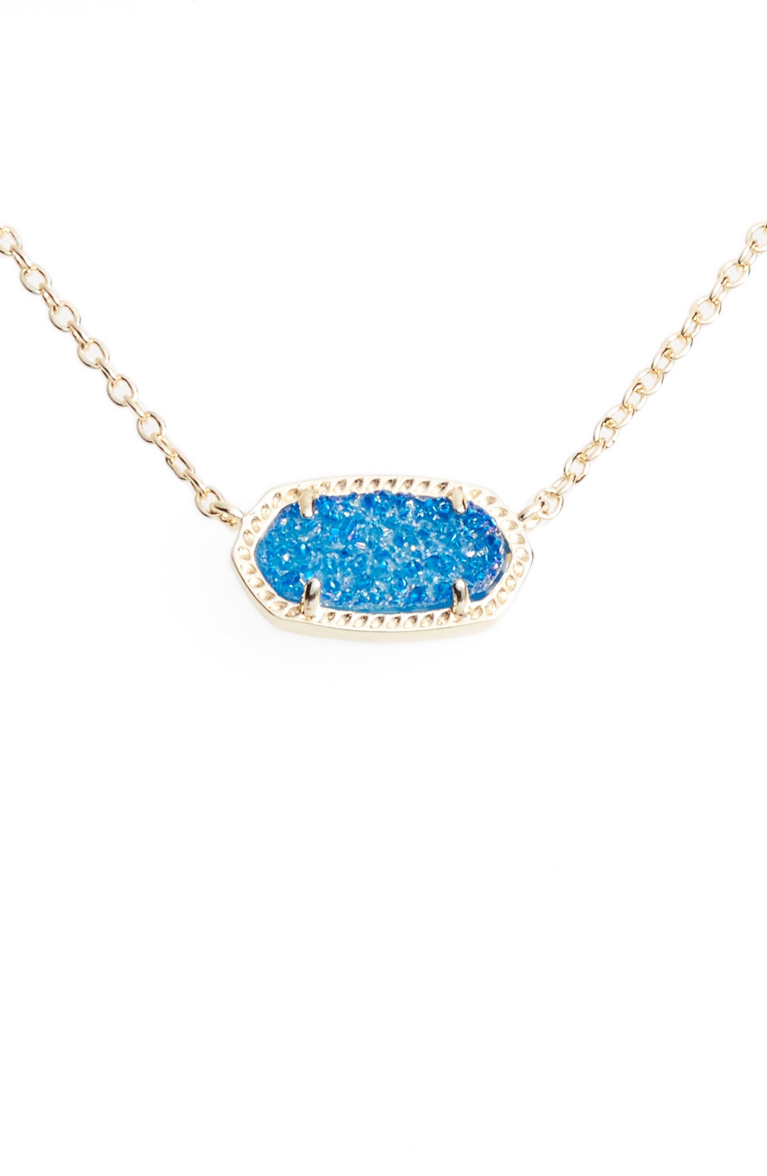 Elisa Pendant Necklace,                         Main,                         color, Cobalt Drusy/ Gold
