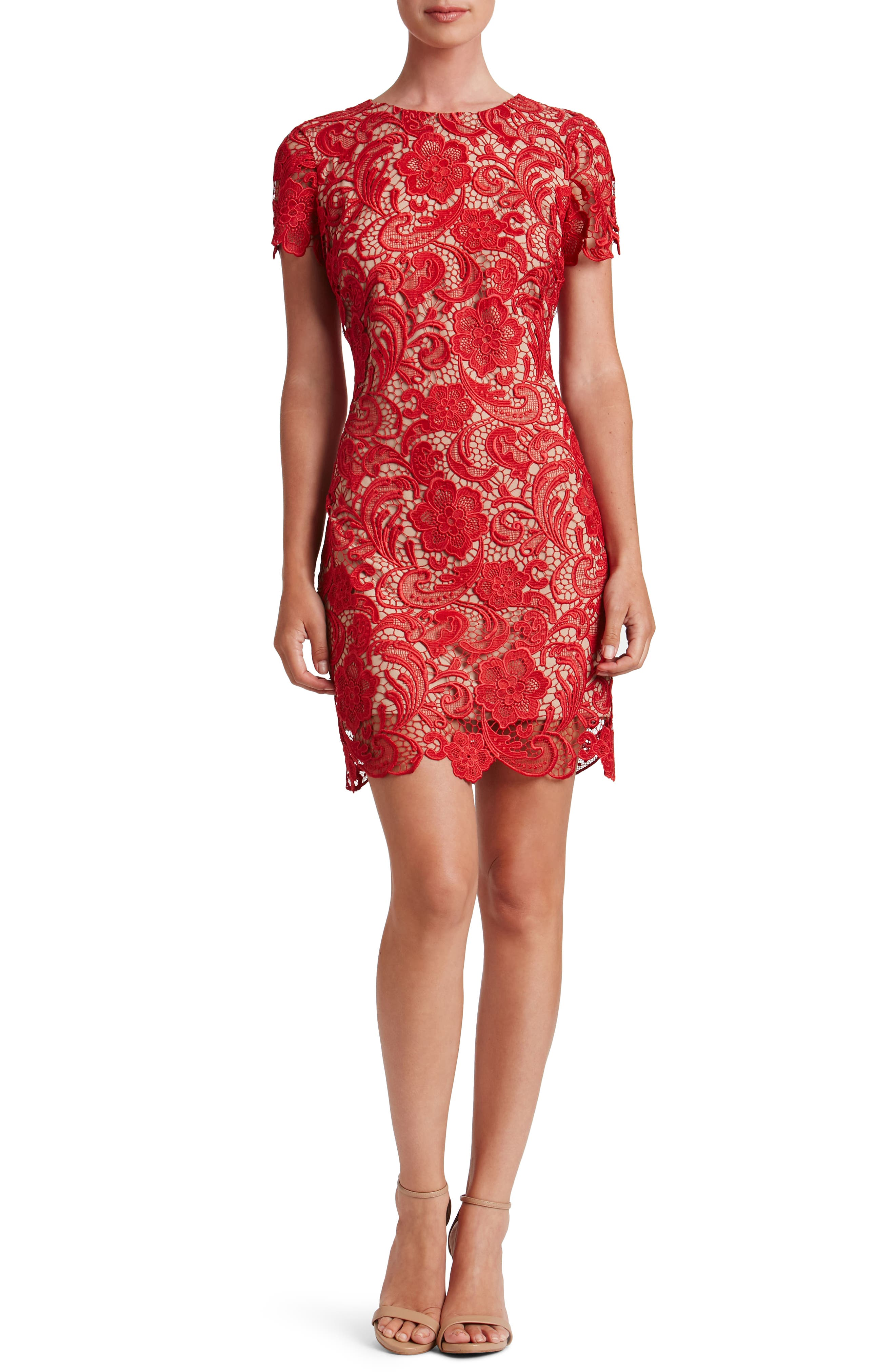 Cocktail dresses red lace dresses