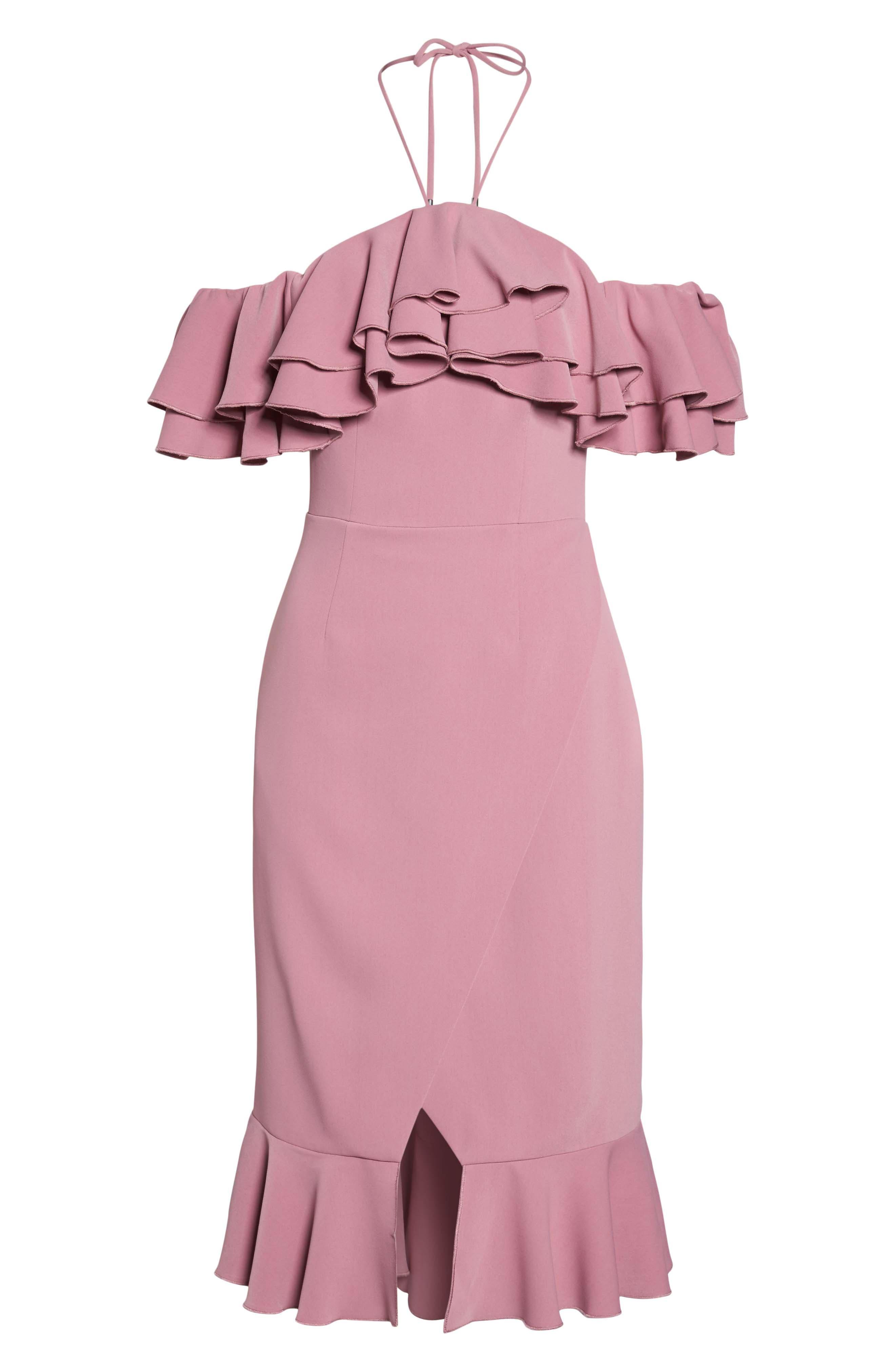Temptation Ruffle Cold Shoulder Dress,                             Alternate thumbnail 7, color,                             Mulberry