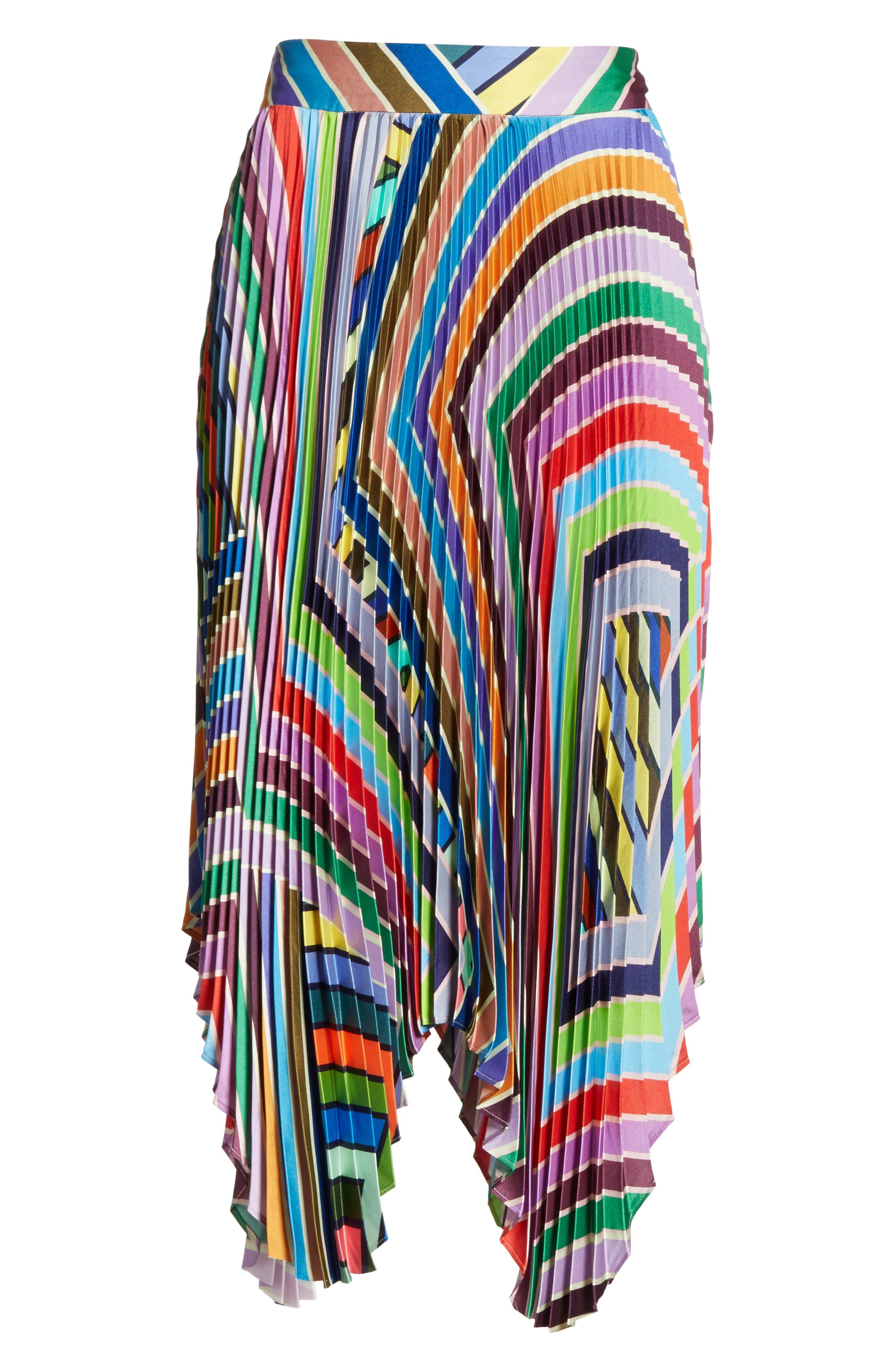 Stripe Pleated Handkerchief Skirt,                             Alternate thumbnail 7, color,                             Multi