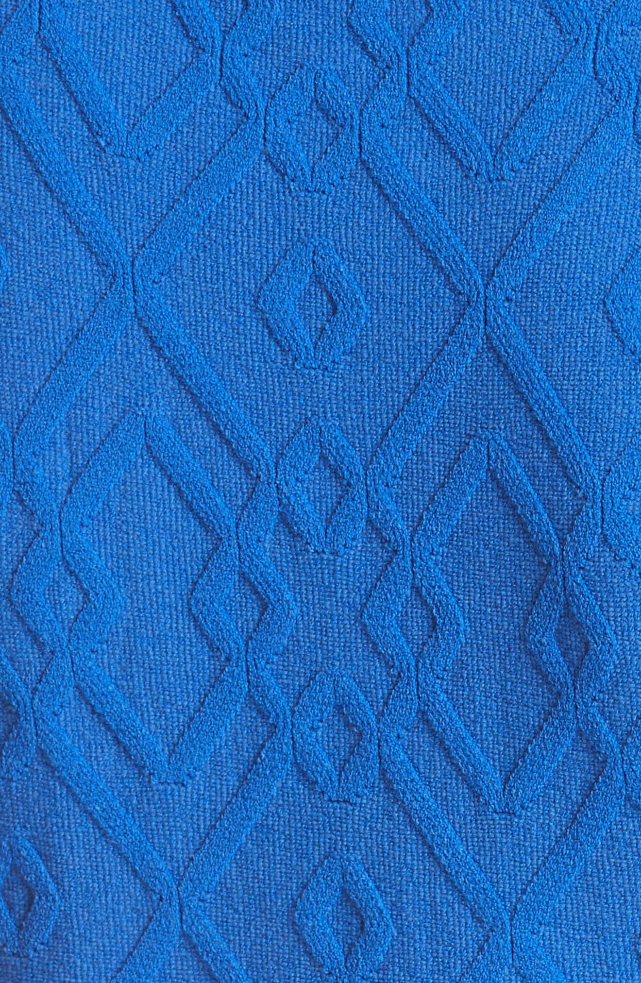 Mosaic Texture Knit Fit & Flare Dress,                             Alternate thumbnail 5, color,                             Blueberry