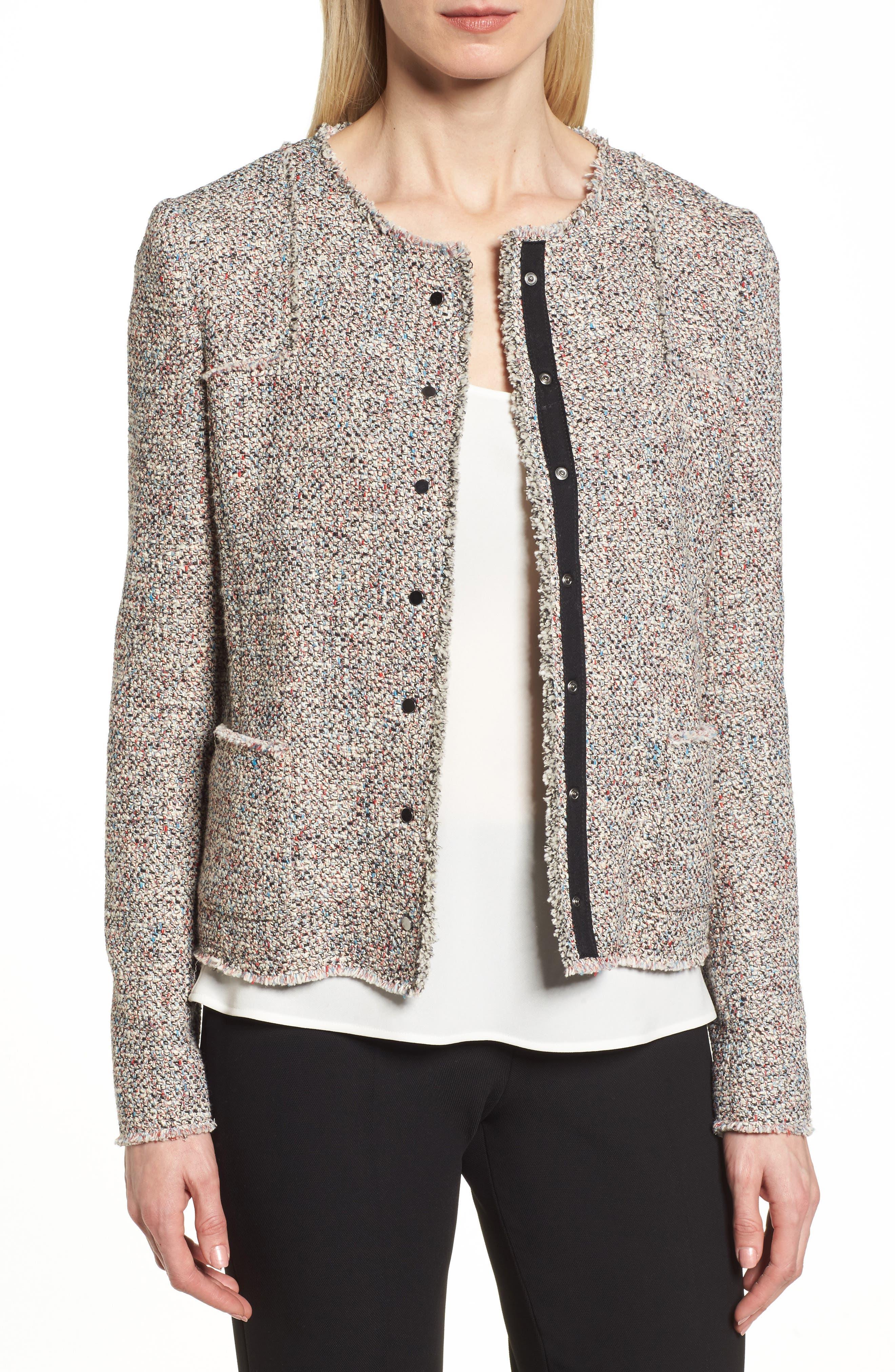 Main Image - BOSS Koralie Tweed Jacket (Regular & Petite)