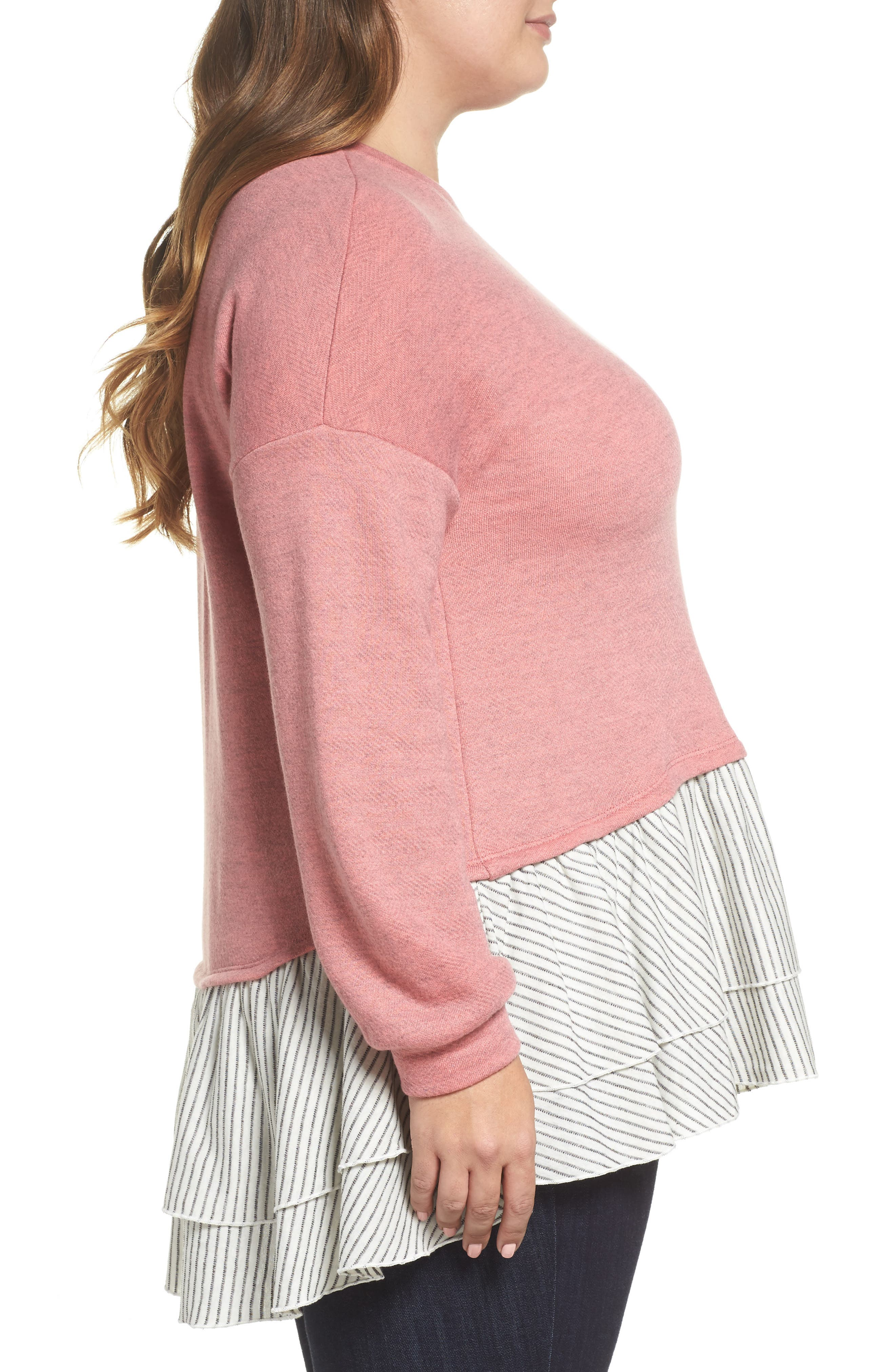 Layered Look Sweatshirt,                             Alternate thumbnail 3, color,                             Coral- Navy Stripe Colorblock