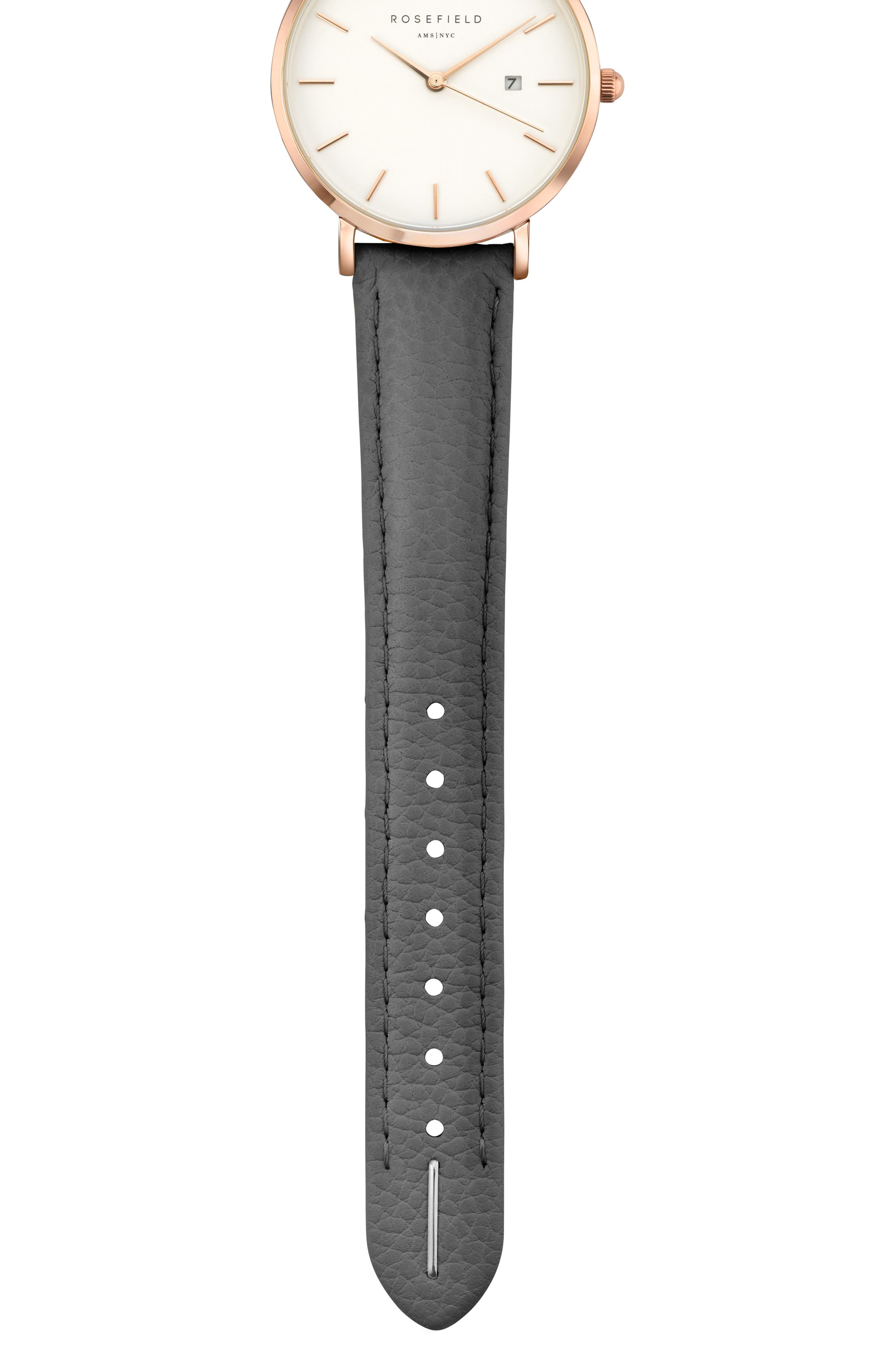The September Issue Leather Strap Watch, 33mm,                             Alternate thumbnail 3, color,                             Grey/ Rose Gold