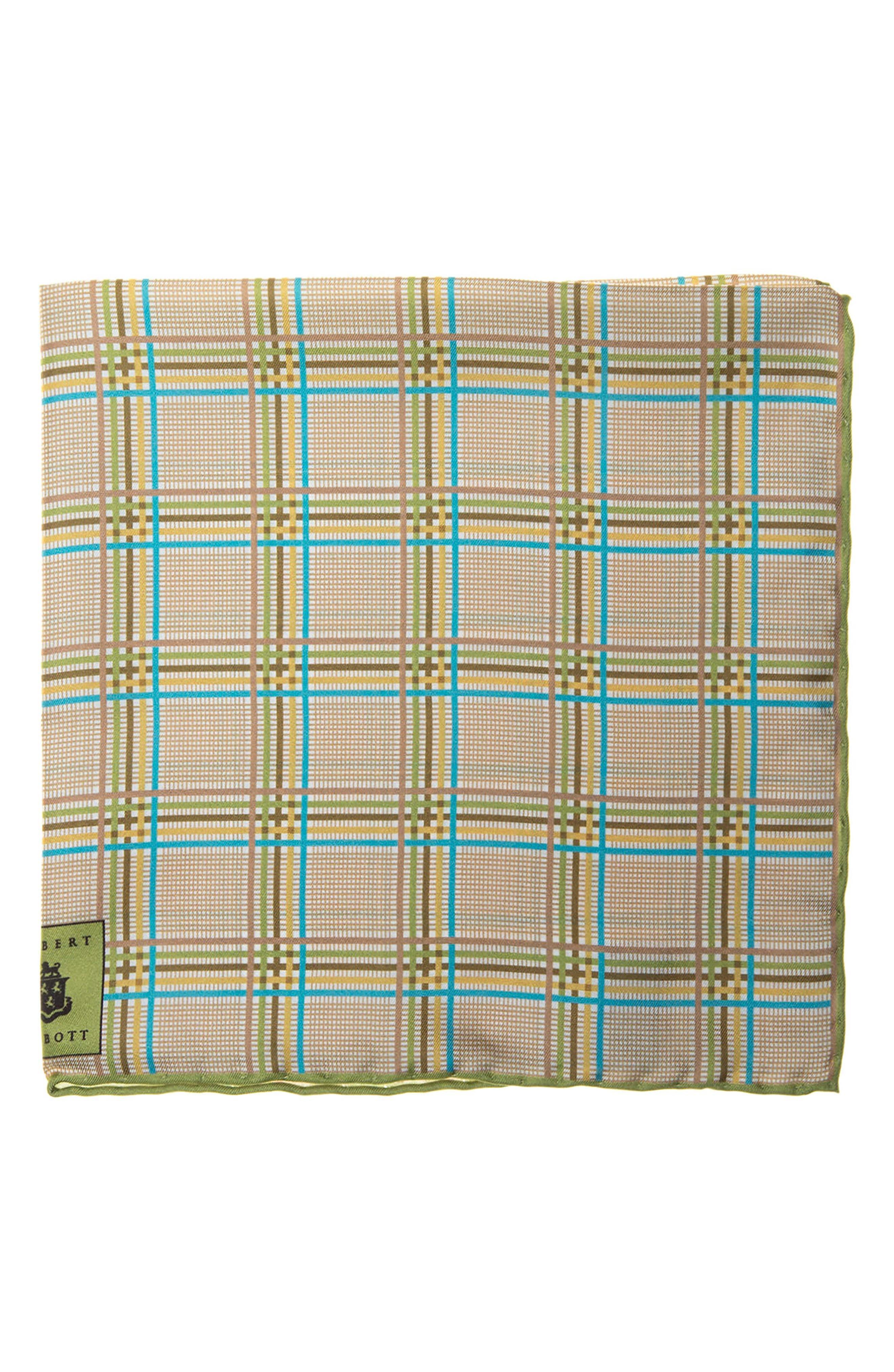 Plaid Silk Pocket Square,                         Main,                         color, Green