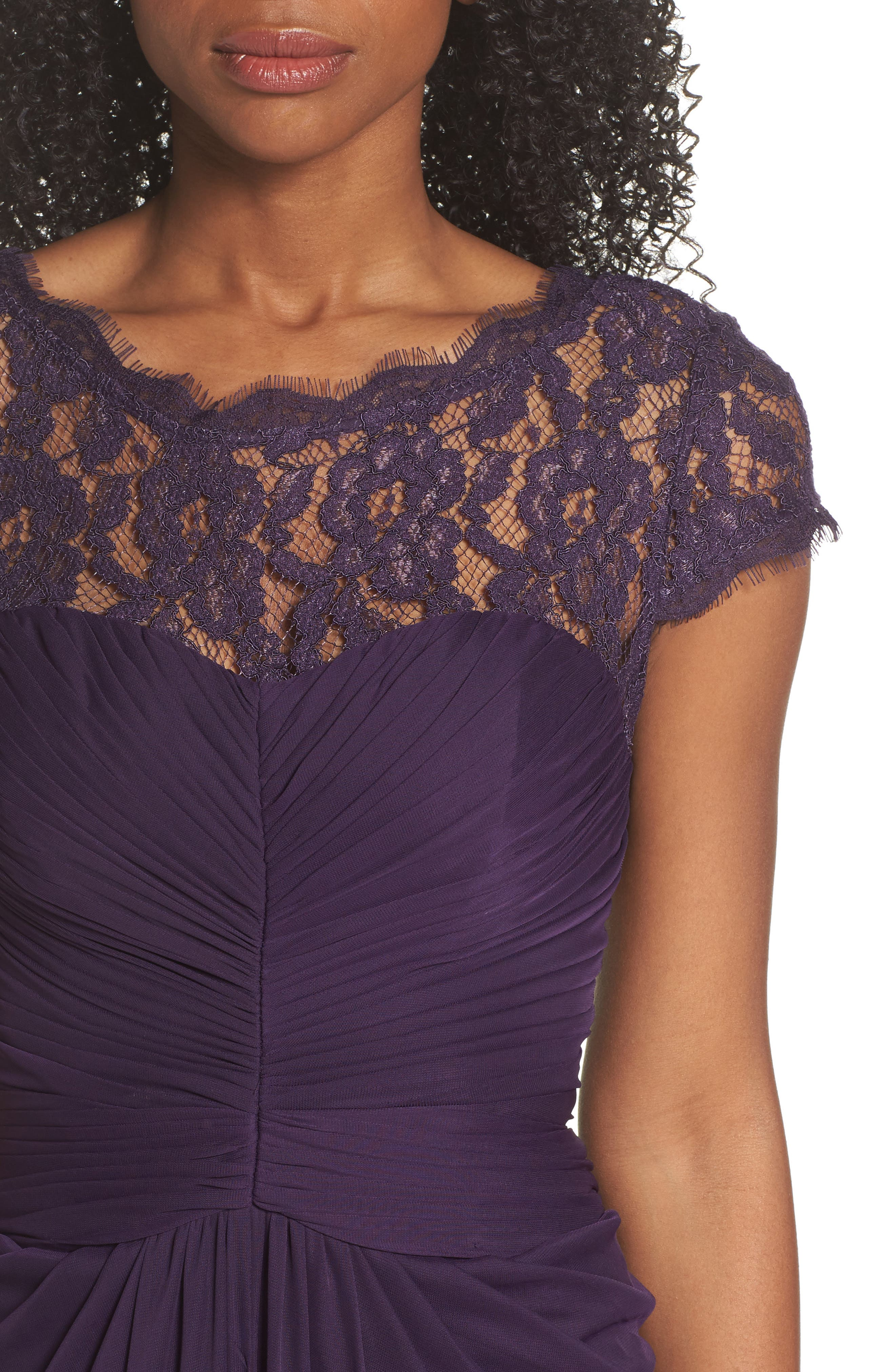 Alternate Image 4  - Adrianna Papell Lace Yoke Drape Gown