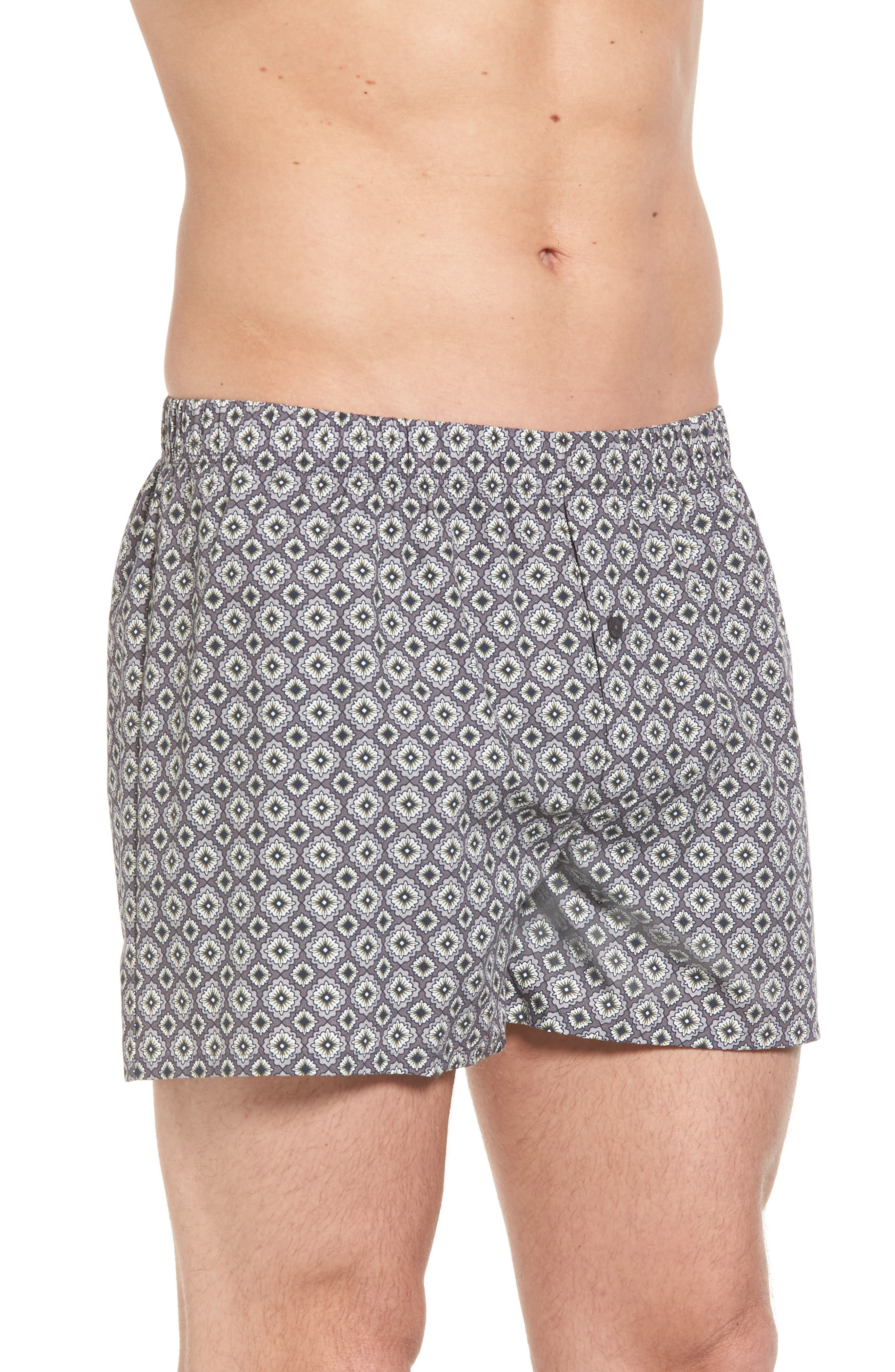 2-Pack Fancy Woven Boxers,                             Alternate thumbnail 4, color,                             Grey/ Squared Flowers