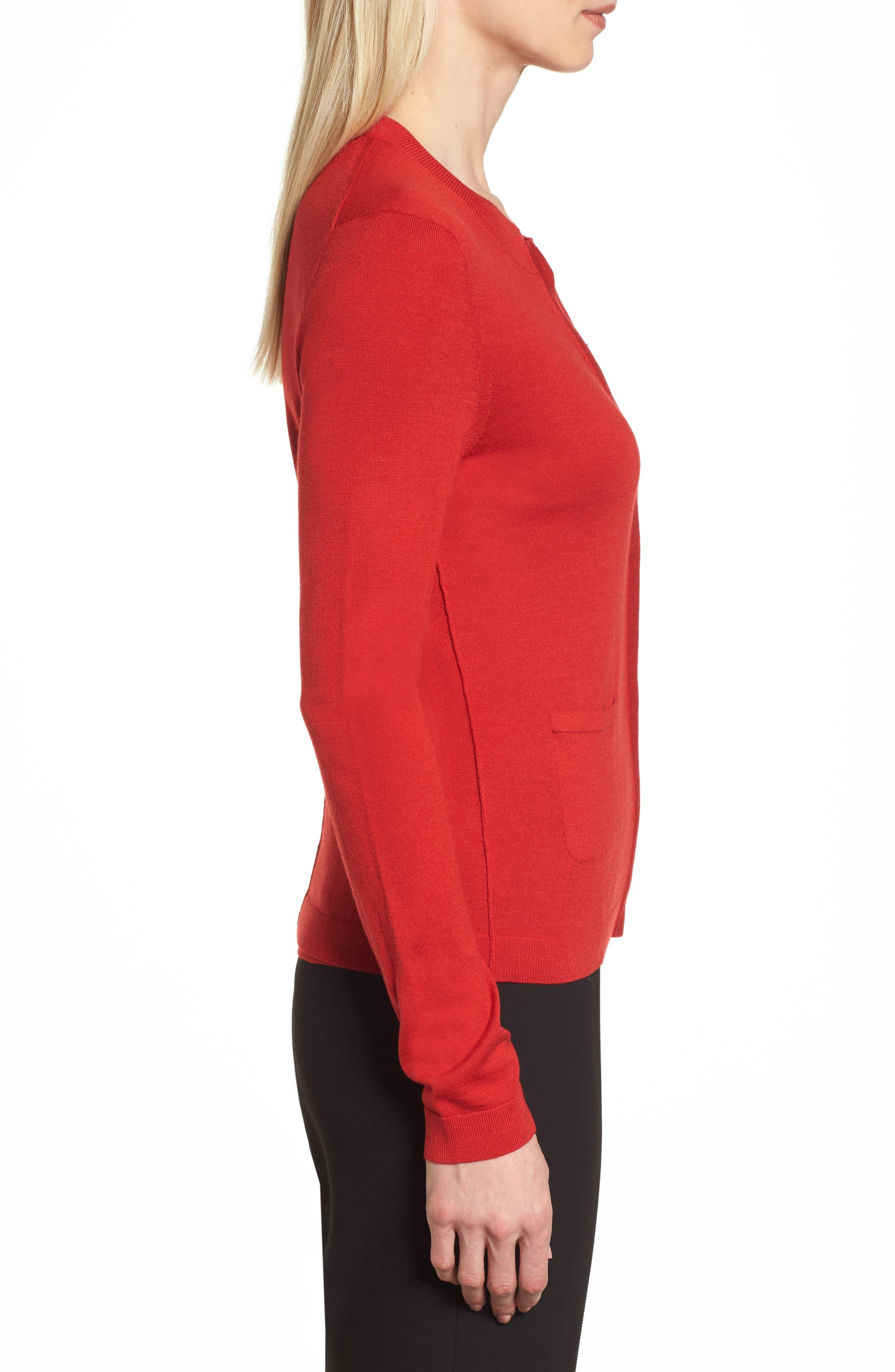 Fuyuma Wool Cardigan,                             Alternate thumbnail 3, color,                             Crimson Red