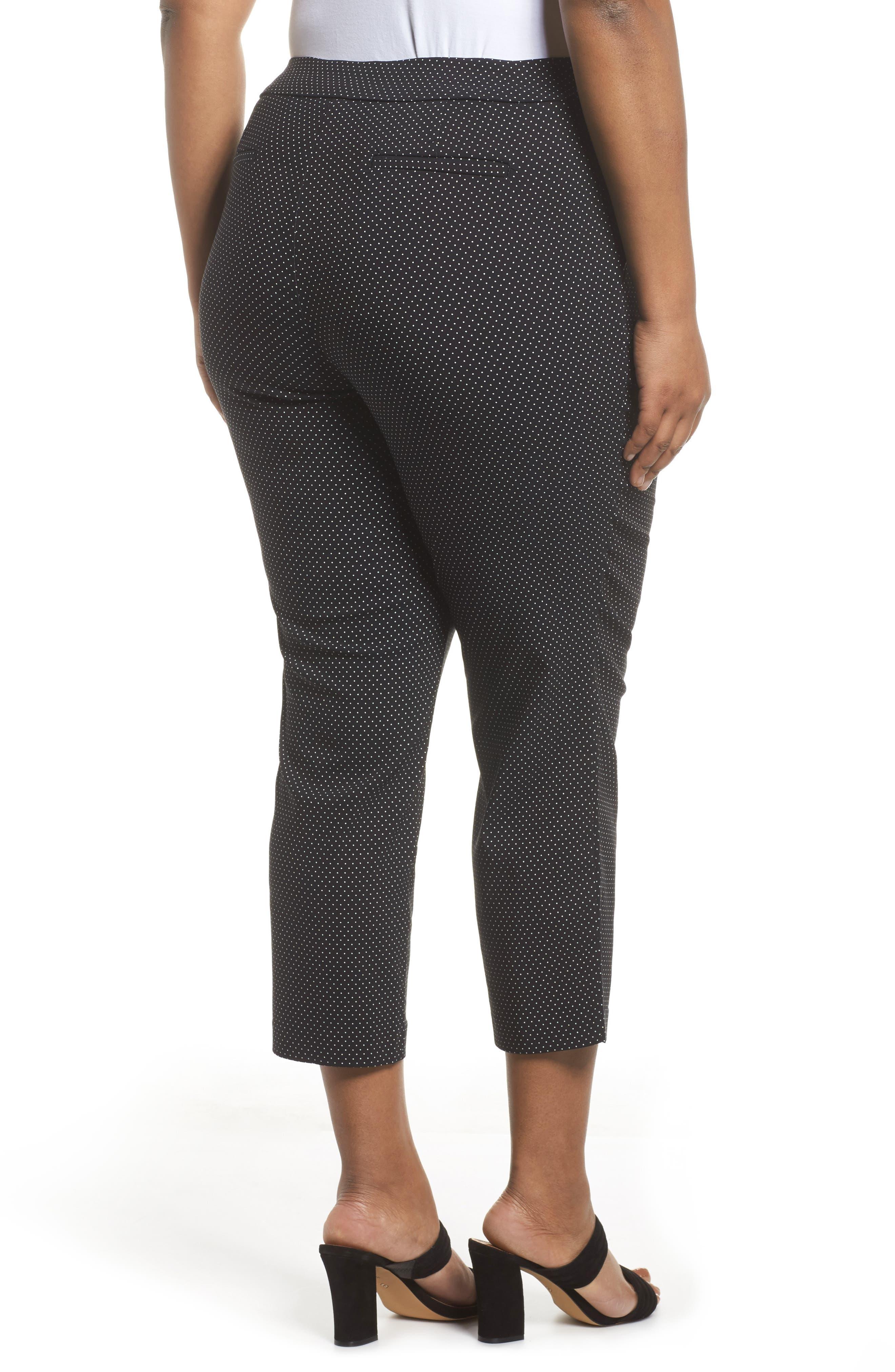 Polka Dot Crop Pants,                             Alternate thumbnail 2, color,                             Black- Ivory Dot