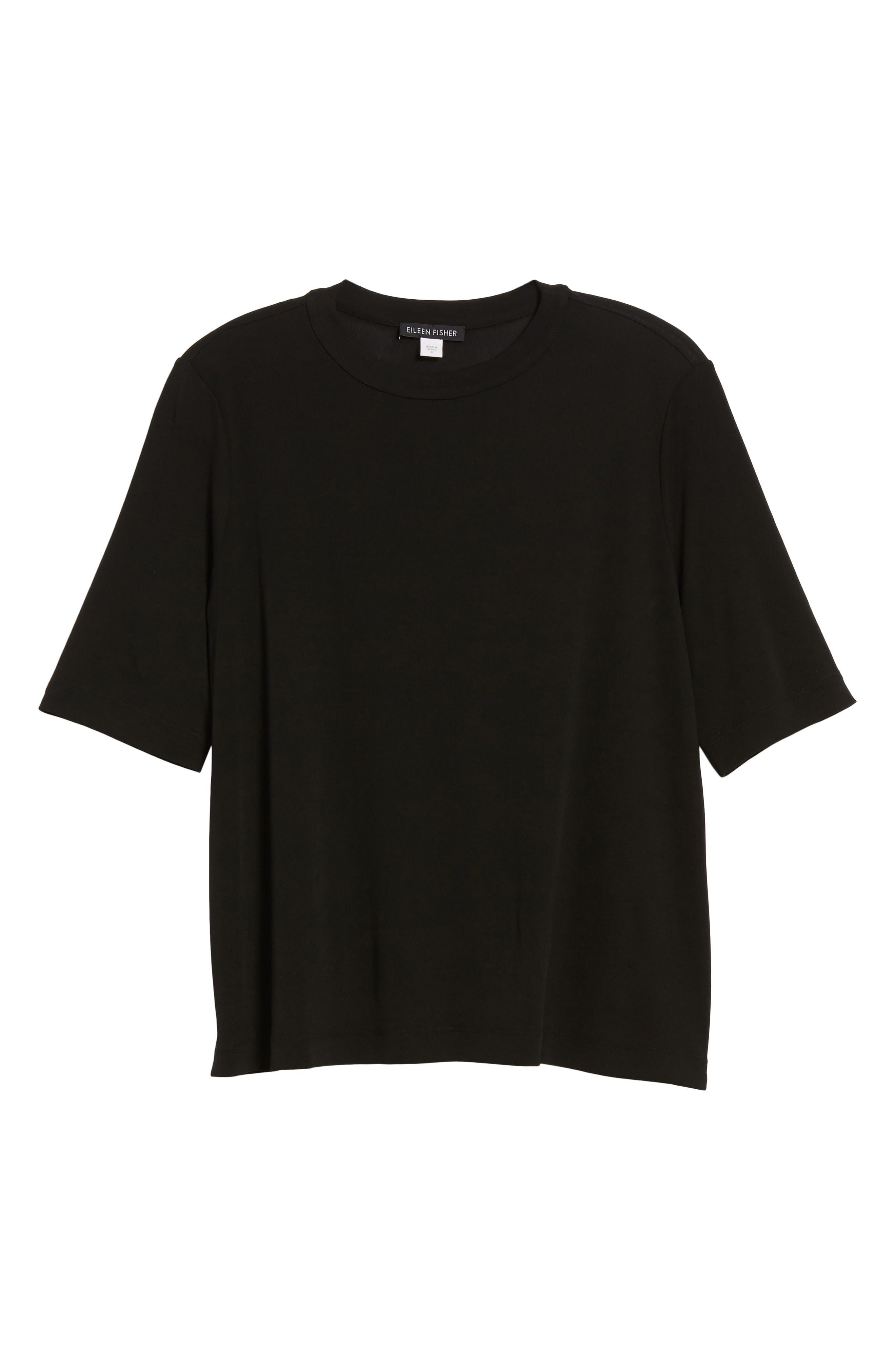 Crewneck Silk Top,                             Alternate thumbnail 6, color,                             Black