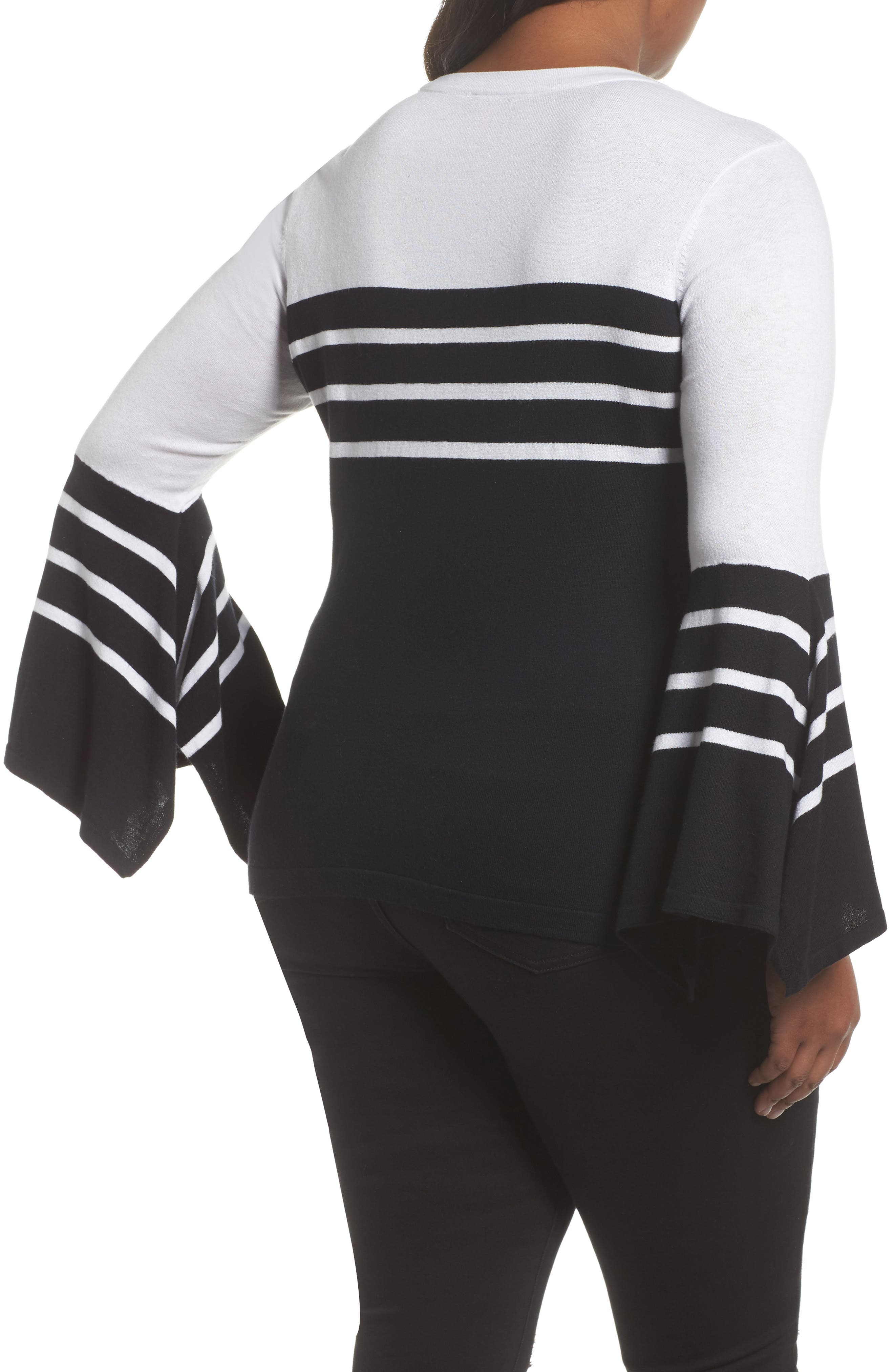 Alternate Image 2  - Vince Camuto Handkerchief Sleeve Stripe Sweater (Plus Size)