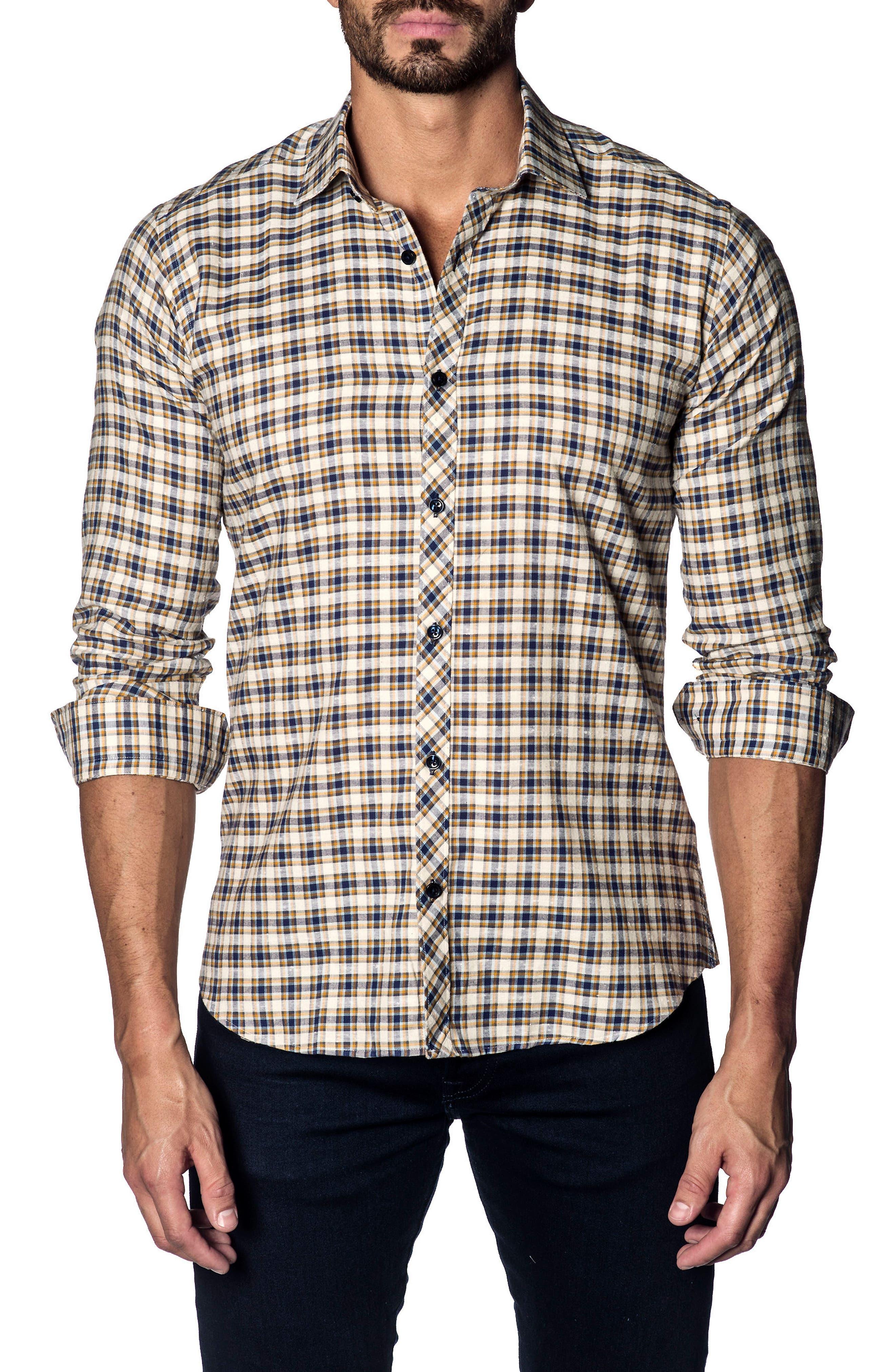 Jared Lang Slim Fit Plaid Sport Shirt