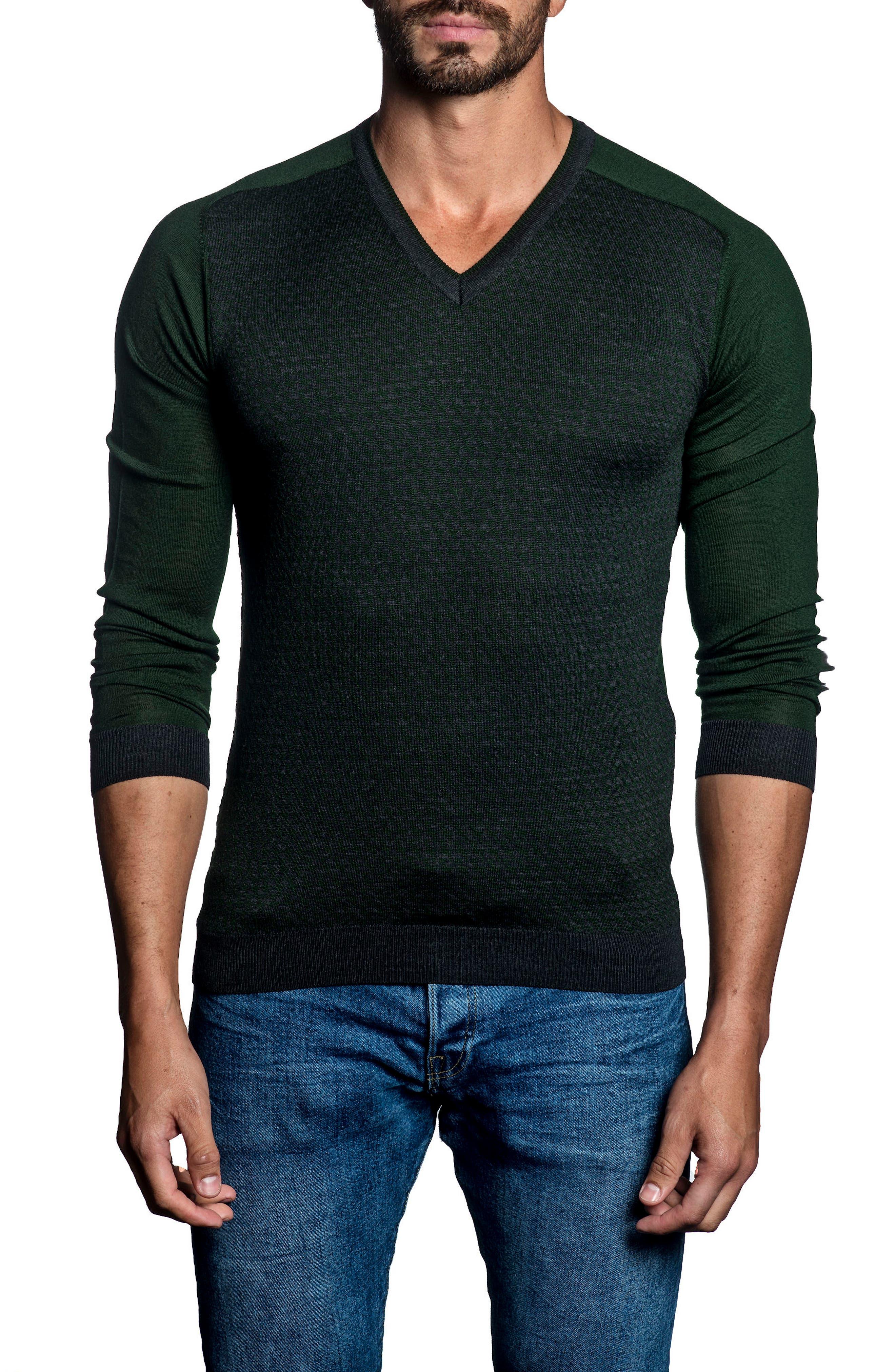 Slim Fit Contrast Sweater,                             Main thumbnail 1, color,                             Dark Green