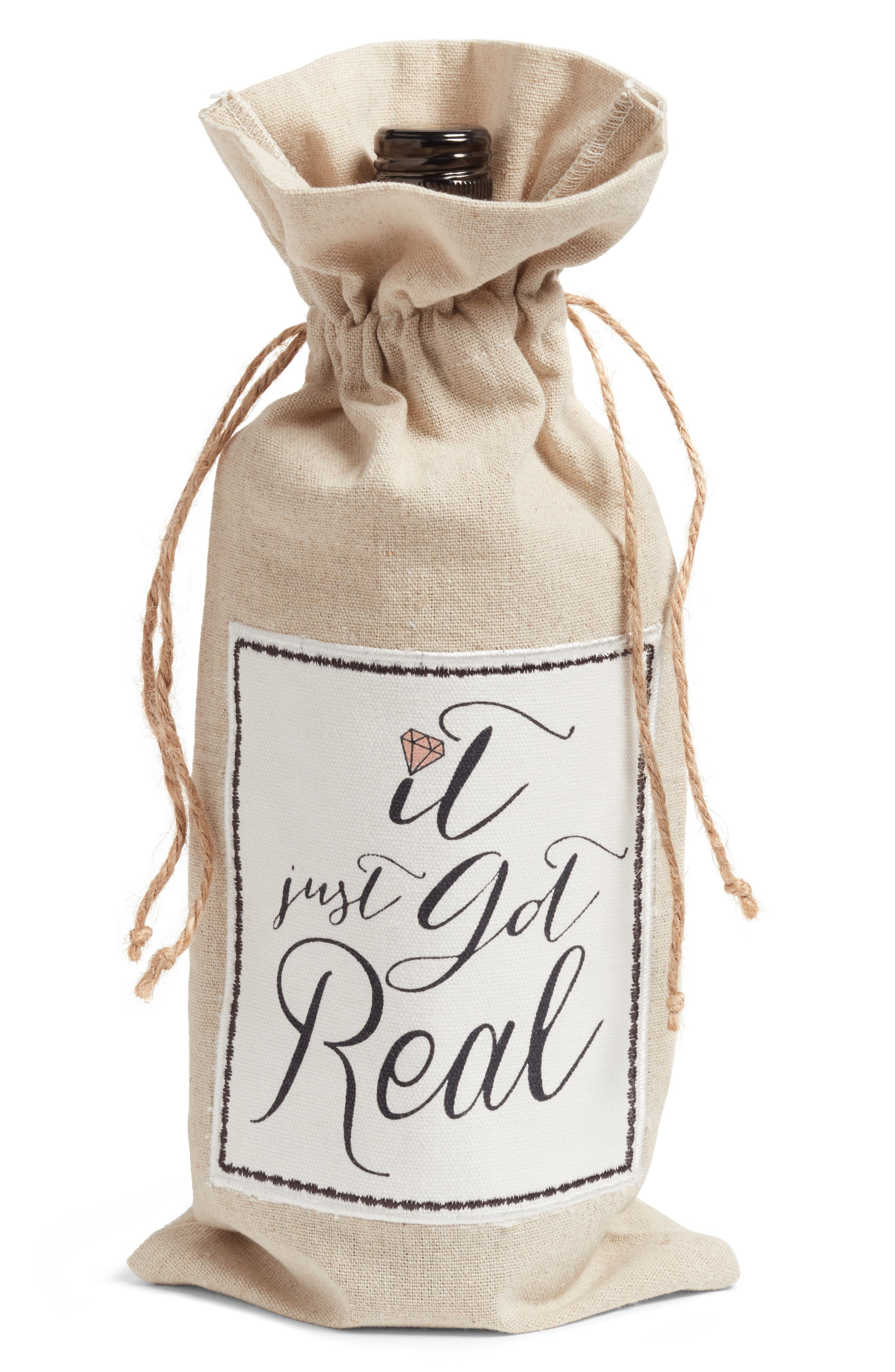 It Just Got Real Wine Tote,                         Main,                         color, Natural