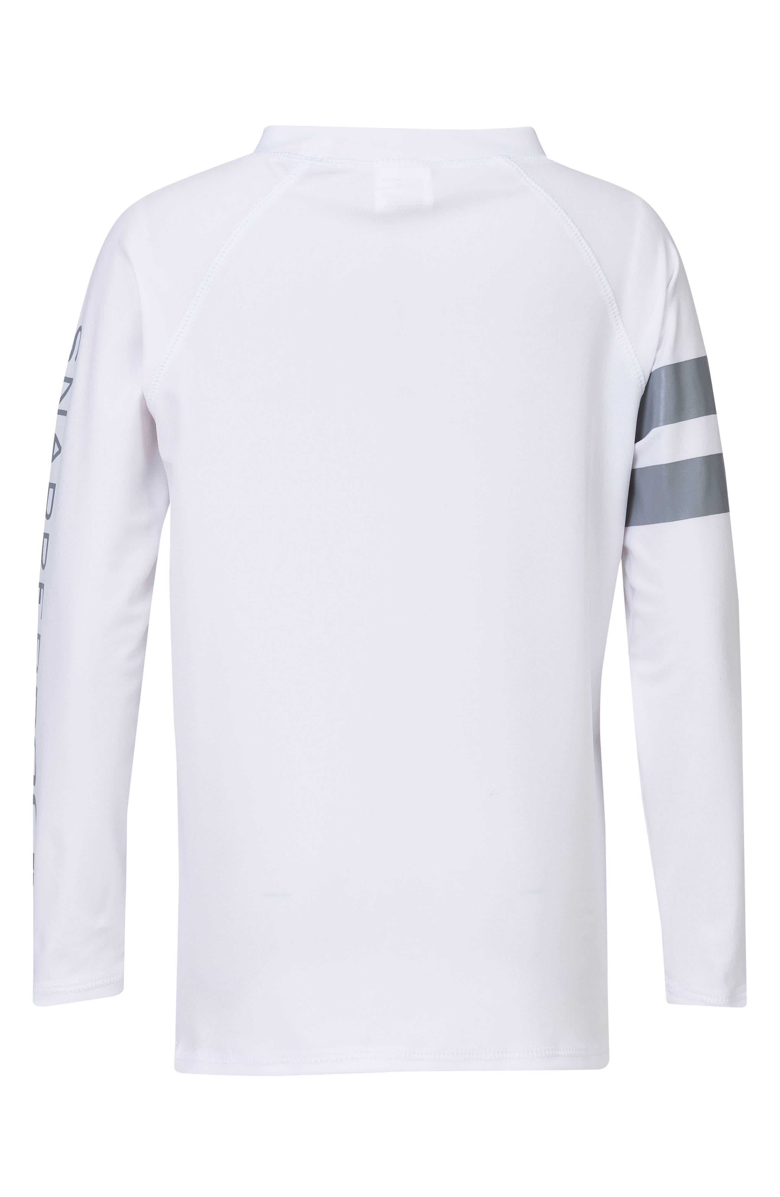 Raglan Long Sleeve Rashguard,                             Alternate thumbnail 2, color,                             White/ Grey
