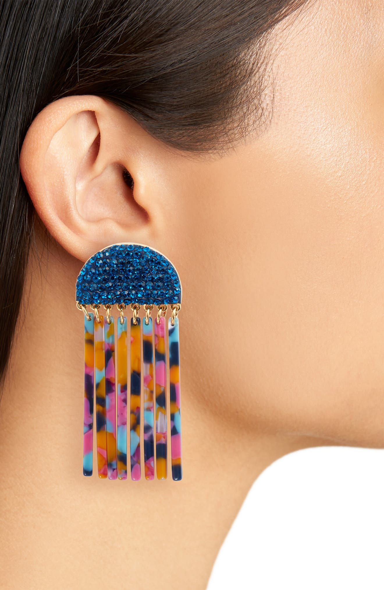 Crystal Comb Earrings,                             Alternate thumbnail 2, color,                             Jungle Punch