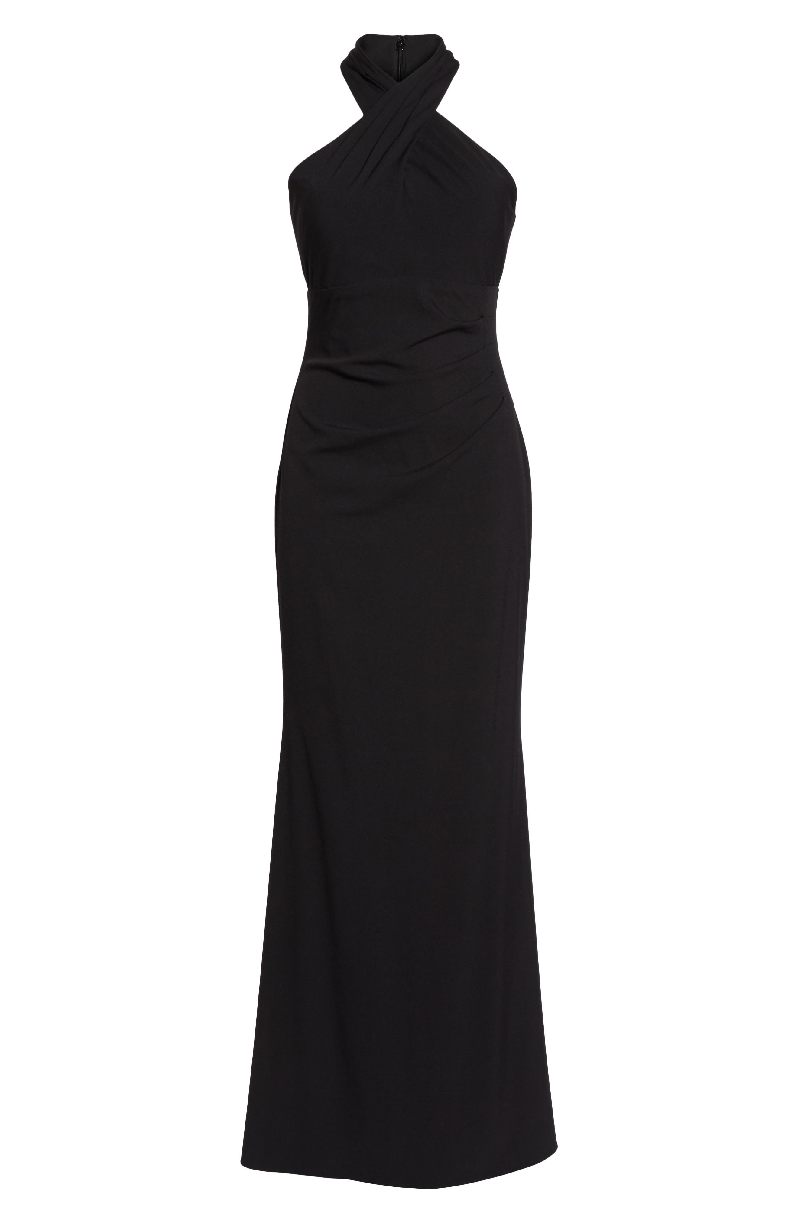 Side Pleat Crossneck Gown,                             Alternate thumbnail 6, color,                             Black