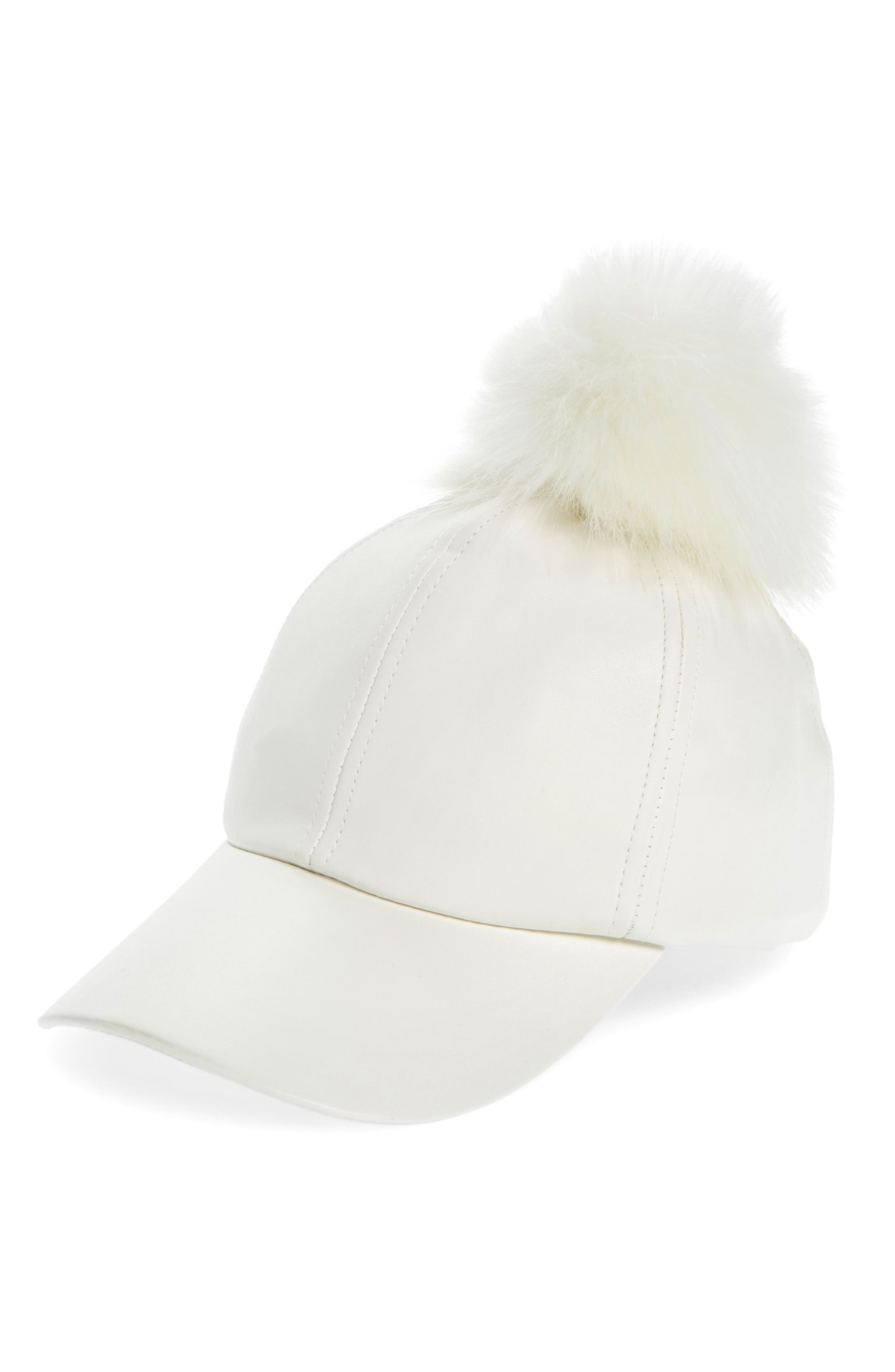 Main Image - Evelyn K Faux Leather Cap with Faux Fur Pompom