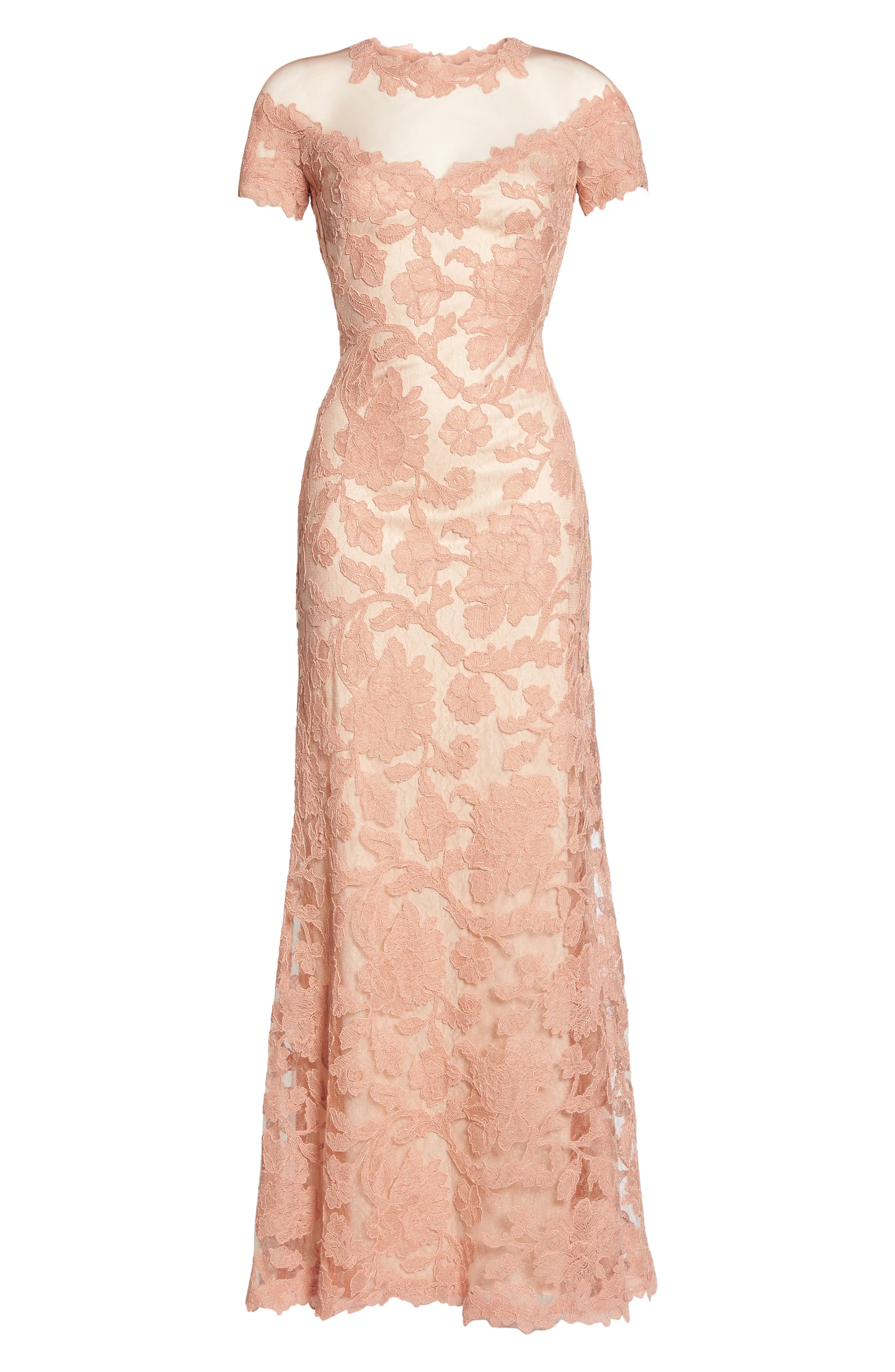 Illusion Yoke Embroidered Gown,                             Alternate thumbnail 6, color,                             Coral