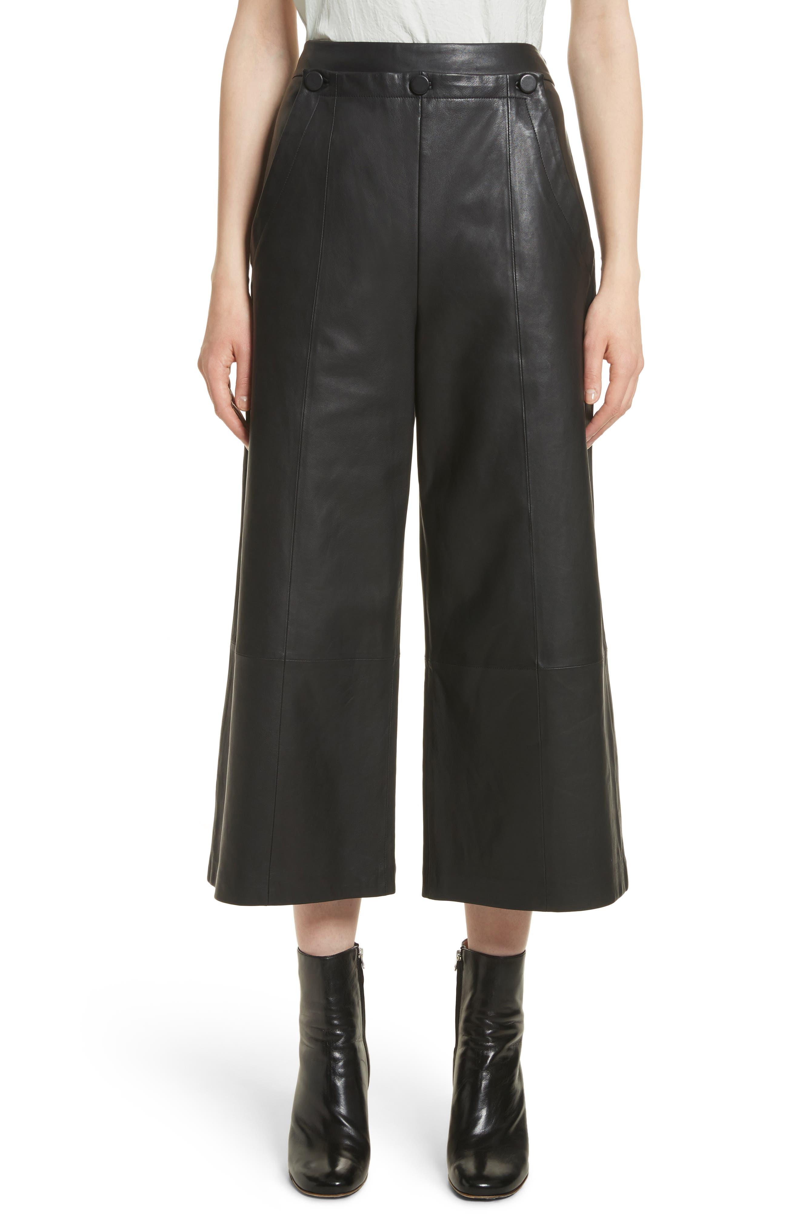 GREY Jason Wu Crop Wide Leg Leather Pants