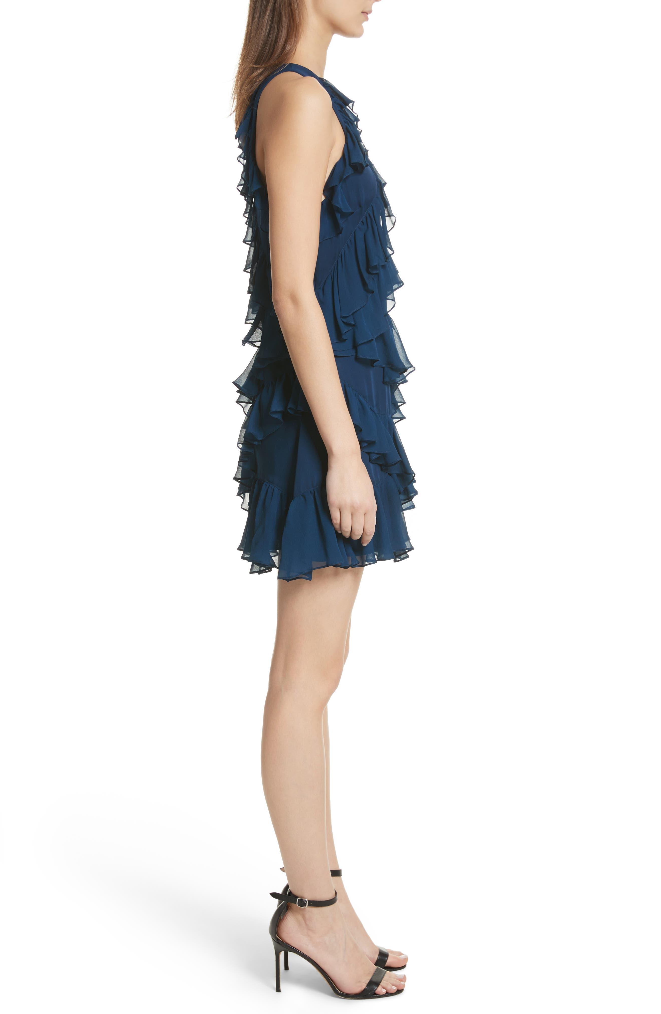 Taghrid Ruffle Silk Dress,                             Alternate thumbnail 3, color,                             Lapis