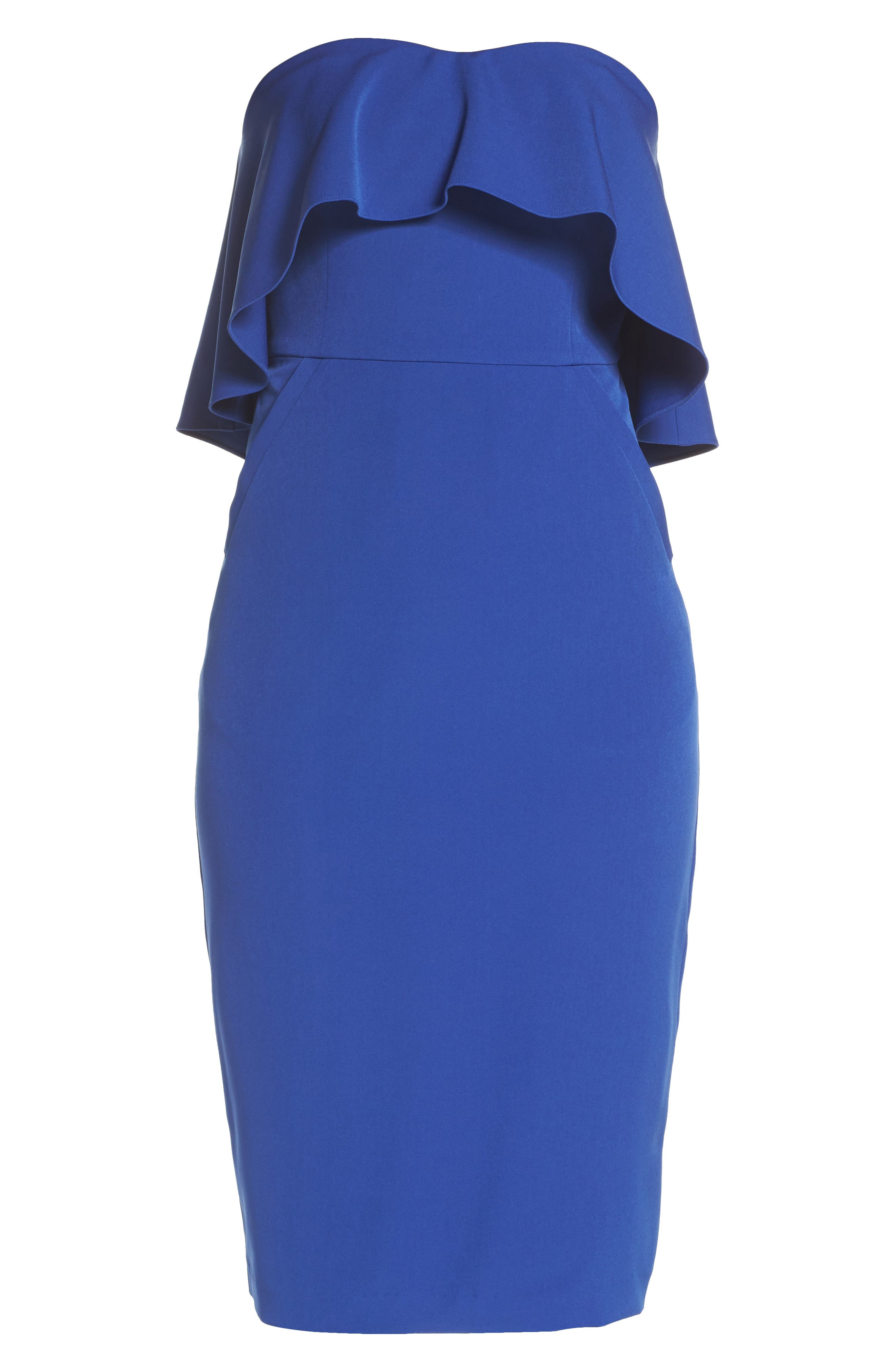 Ruffle Stretch Crepe Sheath Dress,                             Alternate thumbnail 6, color,                             Blue Surf
