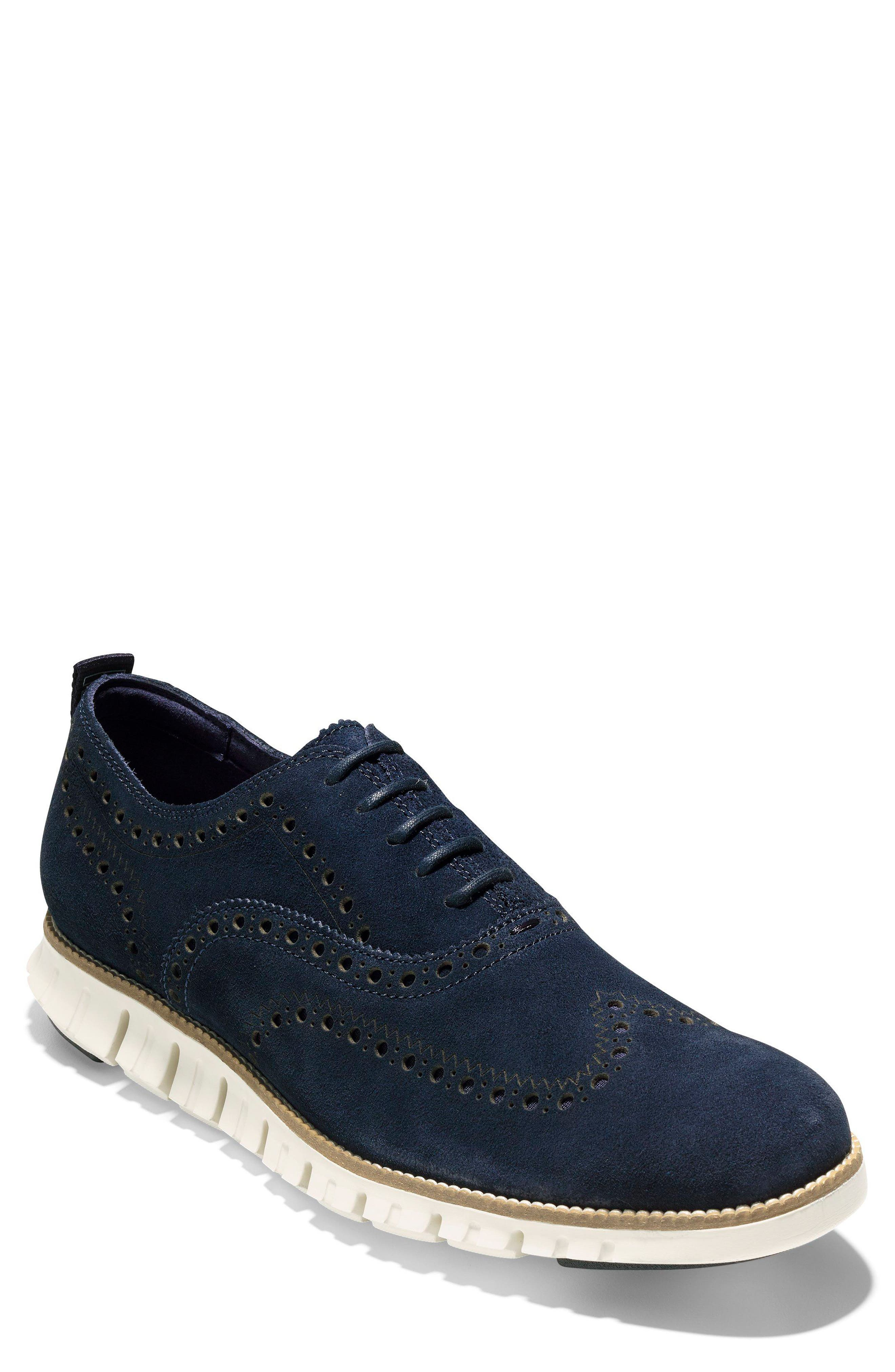 'ZeroGrand' Wingtip Oxford,                             Main thumbnail 1, color,                             Navy Suede