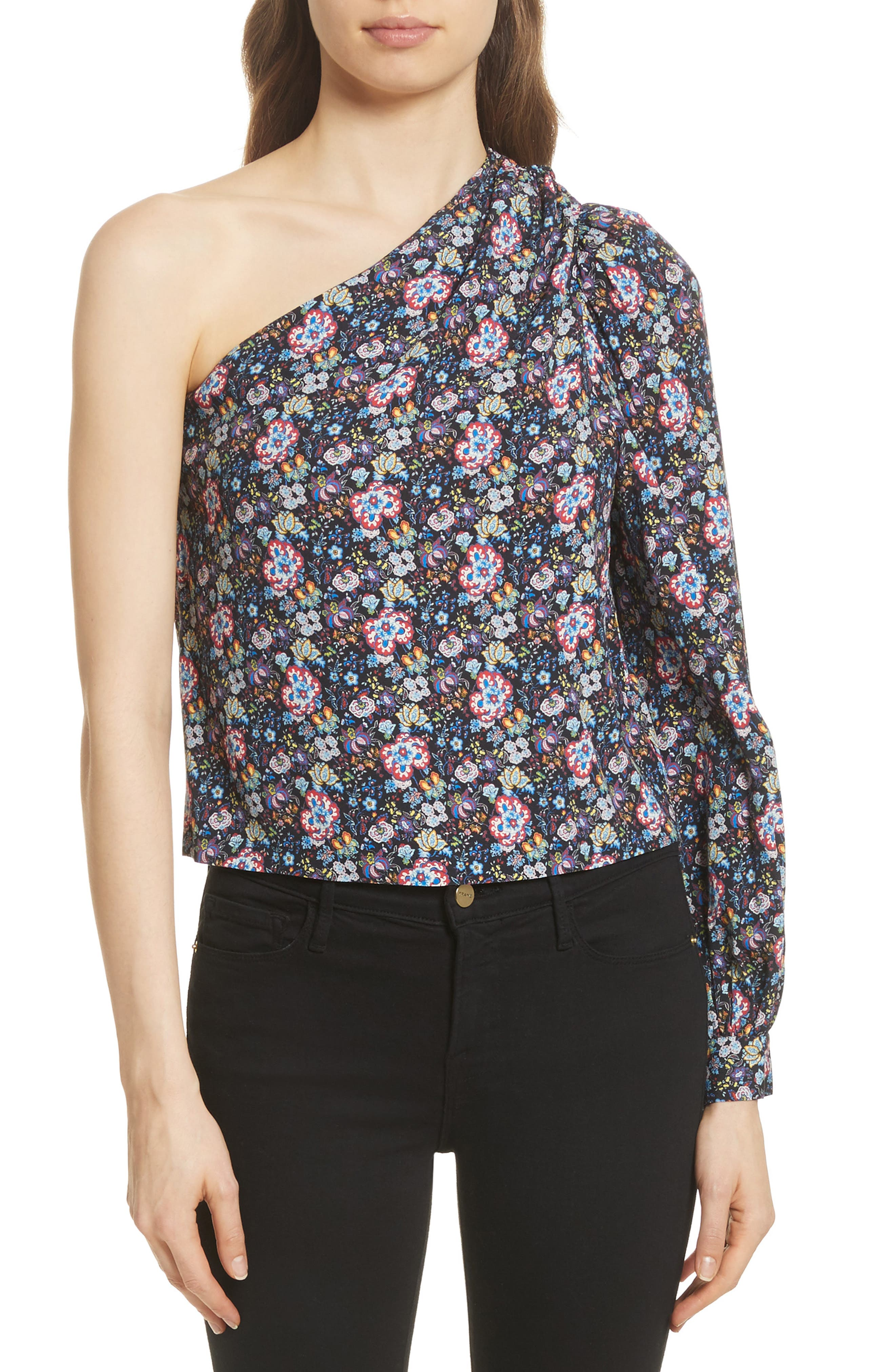 FRAME Floral Print One-Shoulder Top