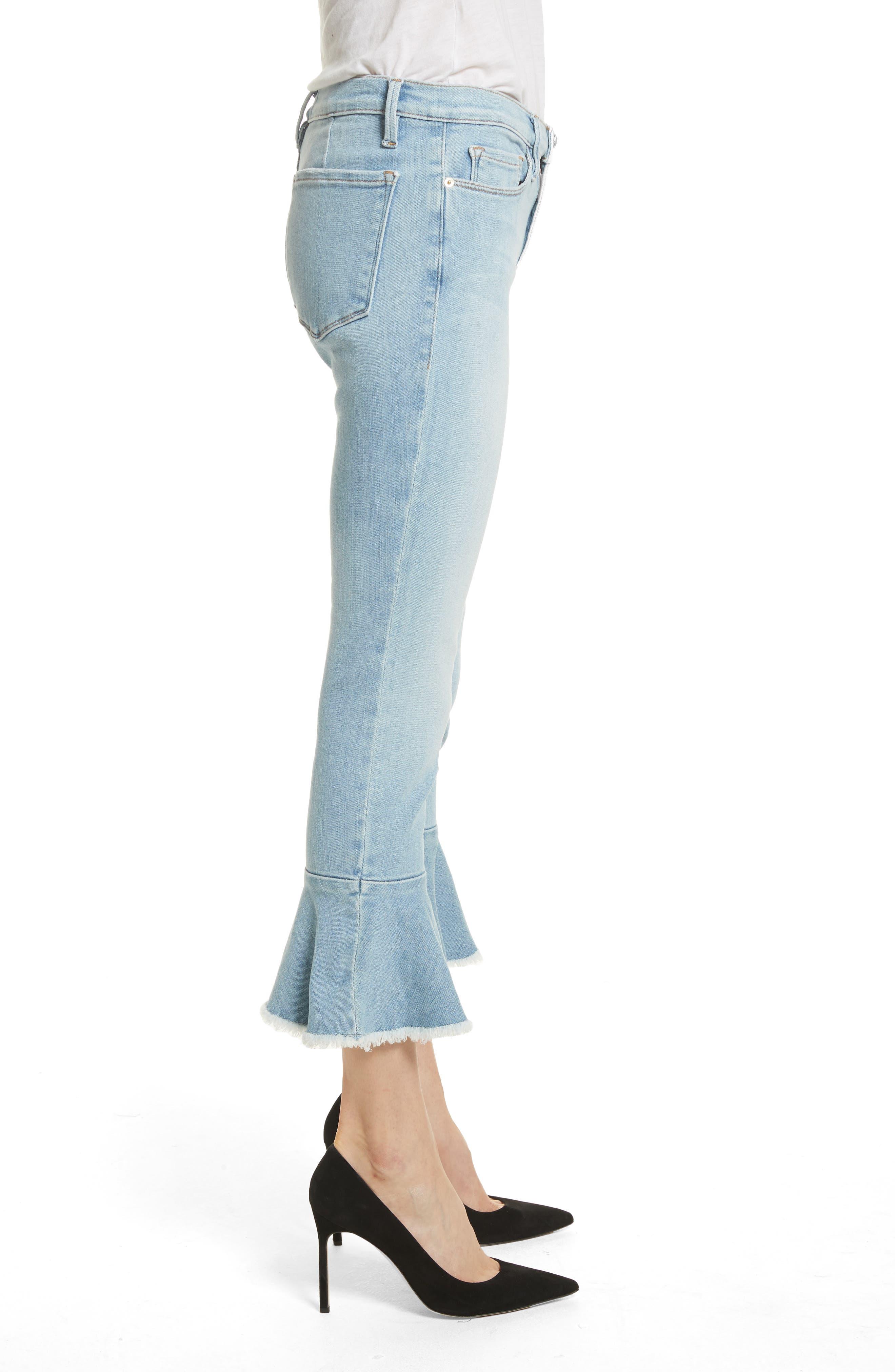 Le Skinny de Jeanne Flounce Skinny Jeans,                             Alternate thumbnail 3, color,                             Limer Stone
