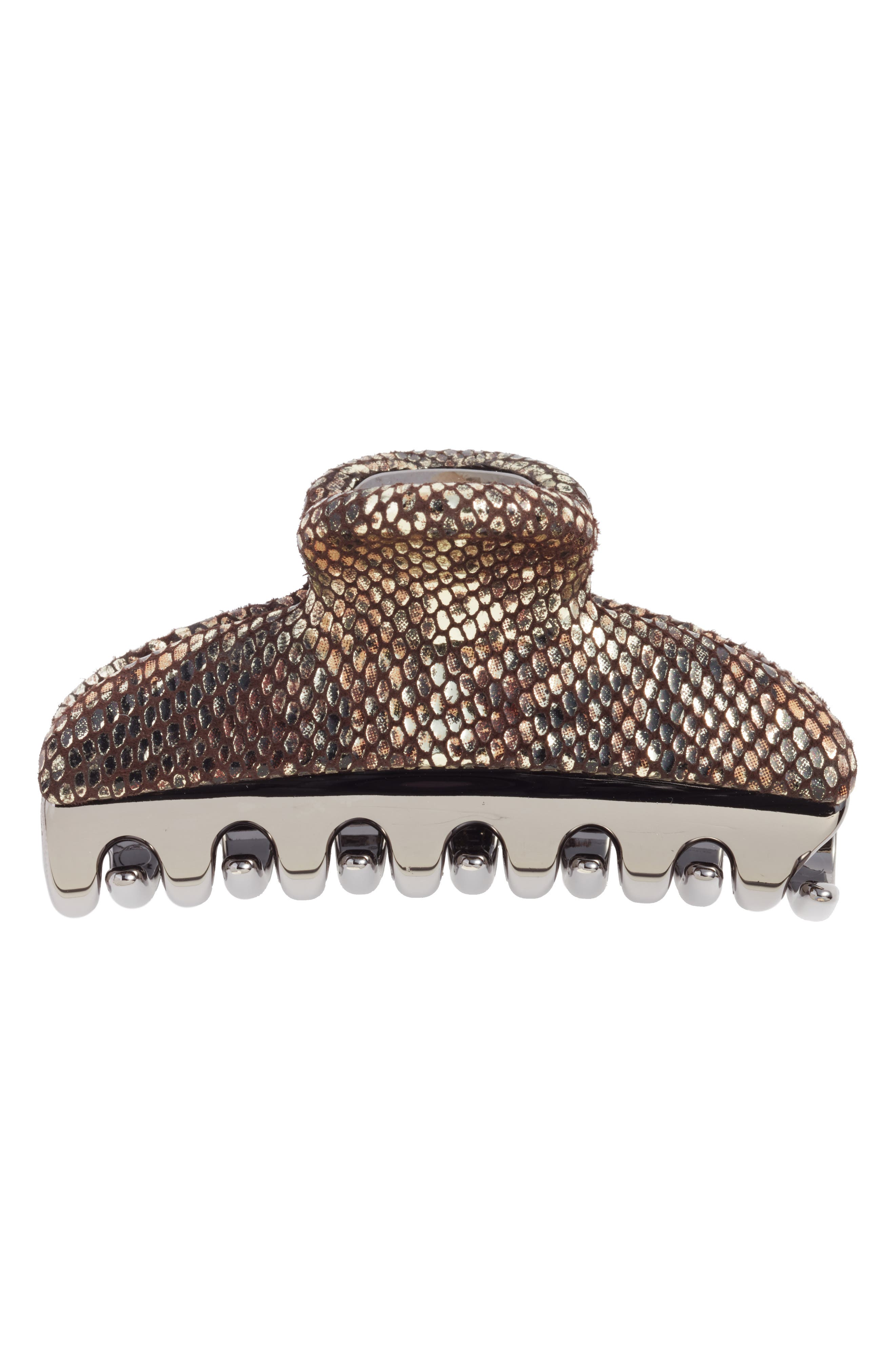 Vendome Python Embossed Leather Hair Clip,                             Alternate thumbnail 2, color,                             Grey