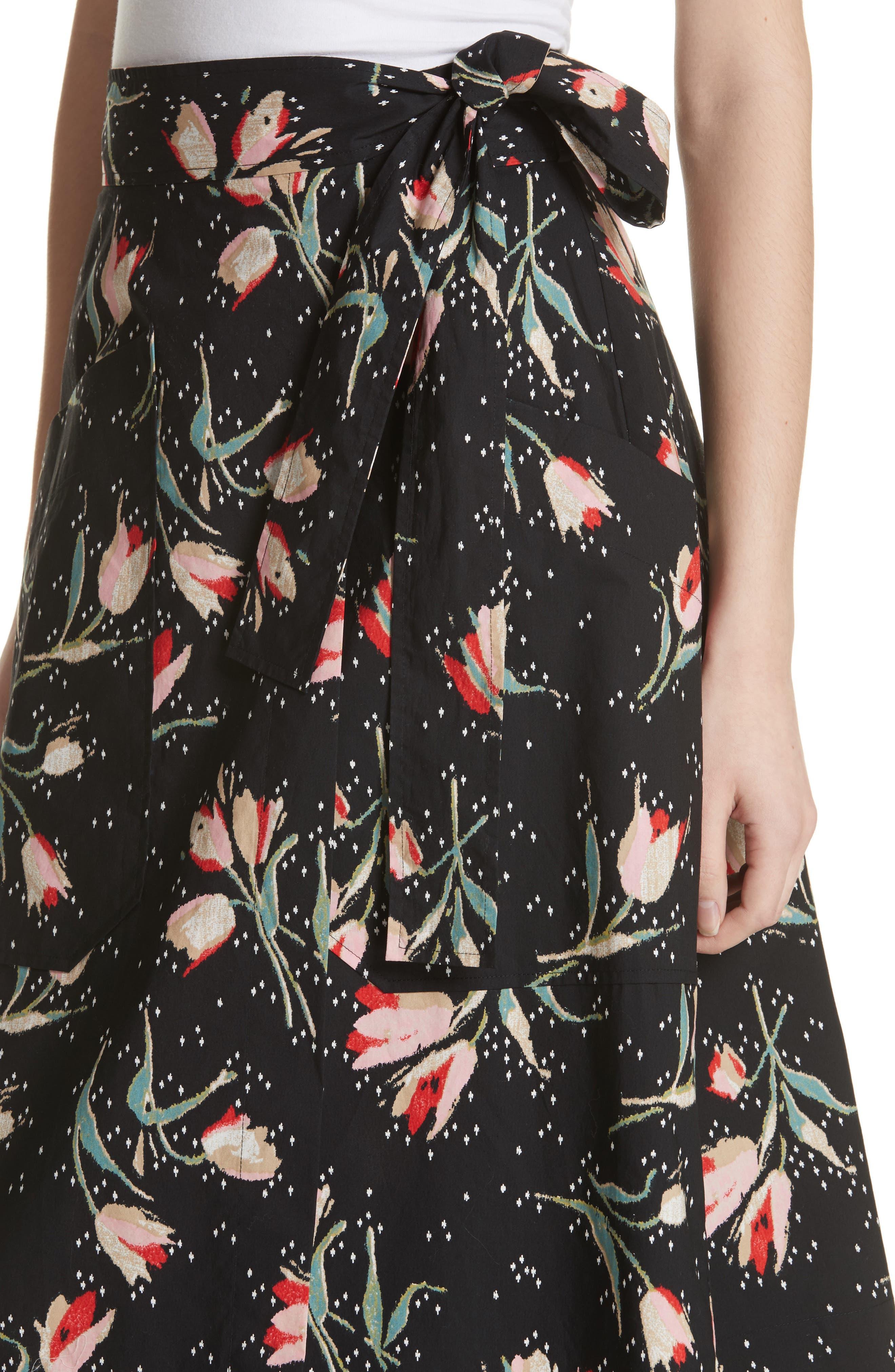 Floral Ikat Wrap Skirt,                             Alternate thumbnail 4, color,                             Black Combo