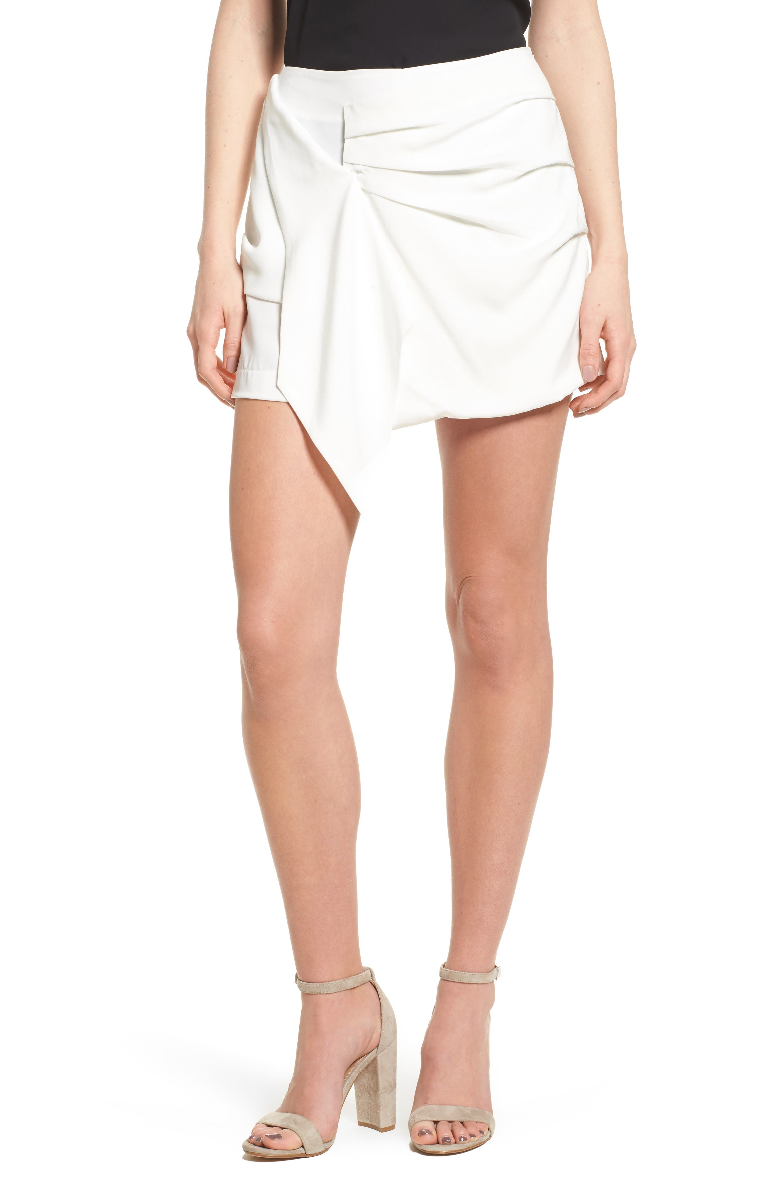 Bishop + Young Katie Ruched Skort,                             Main thumbnail 1, color,                             White