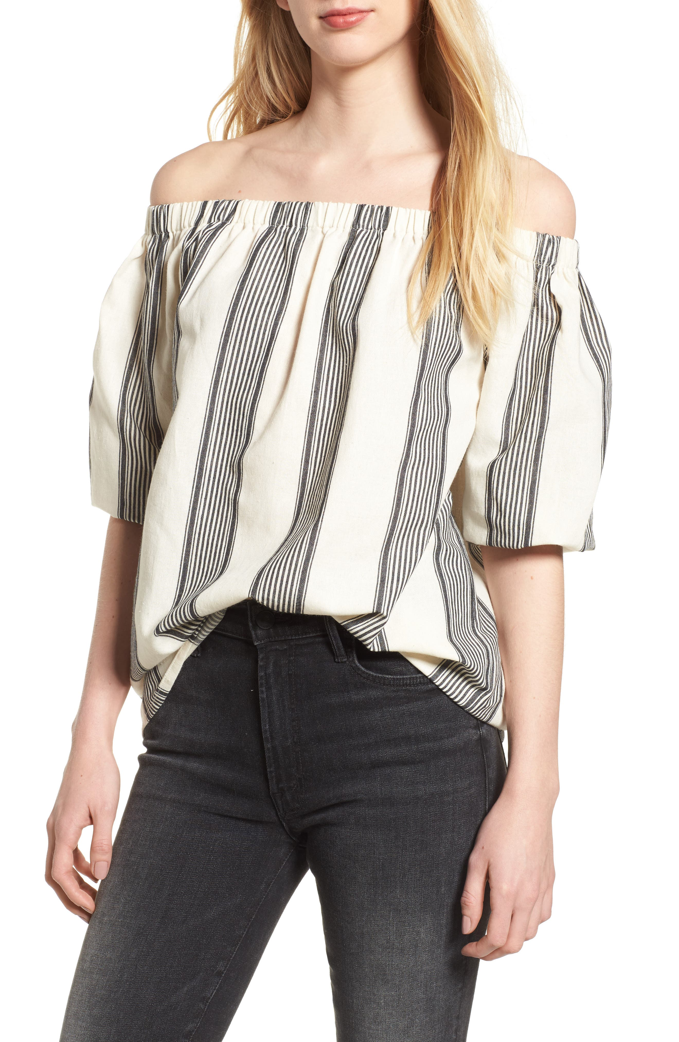 Bishop + Young Karlie Off the Shoulder Top,                             Main thumbnail 1, color,                             Grey Stripe