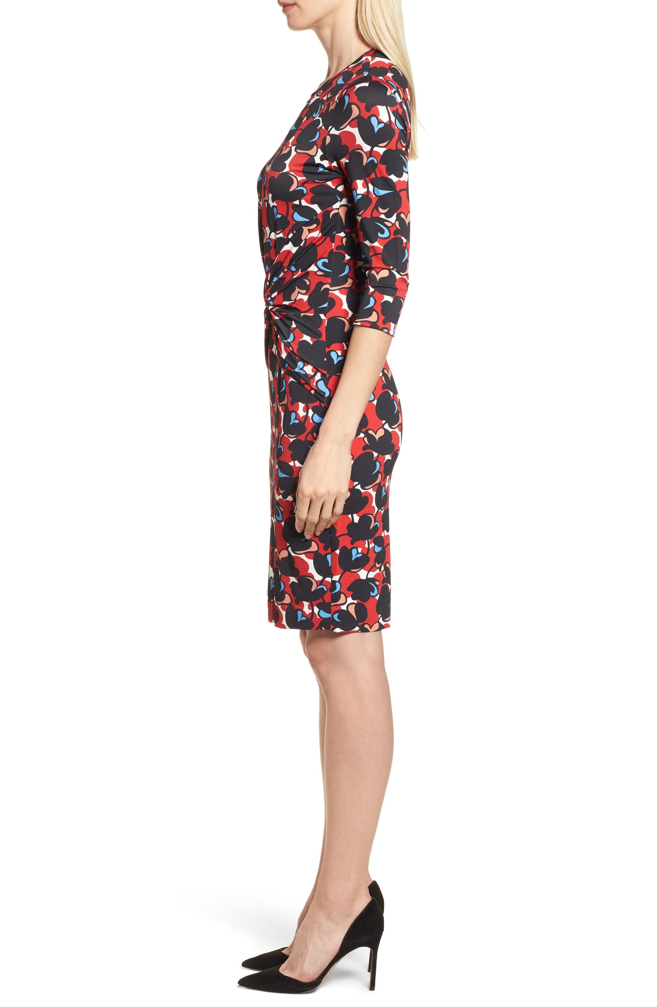 Eleika Print Jersey Sheath Dress,                             Alternate thumbnail 3, color,                             Multicolor Flower Print