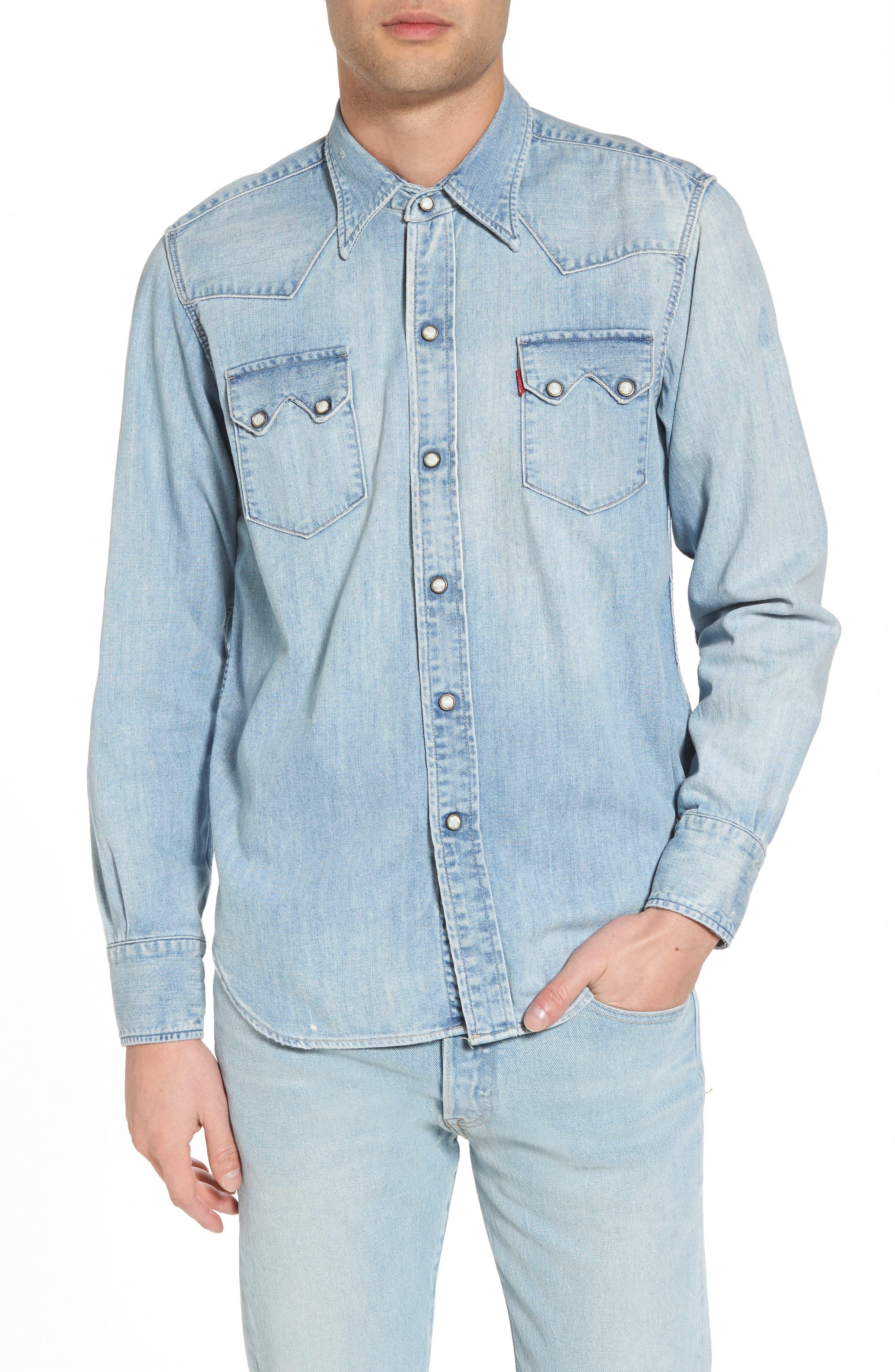 1955 Sawtooth Trim Fit Denim Western Shirt,                             Main thumbnail 1, color,                             Blue
