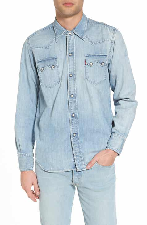Men 39 s denim shirts nordstrom for Levis vintage denim shirt 1950 sawtooth slim fit