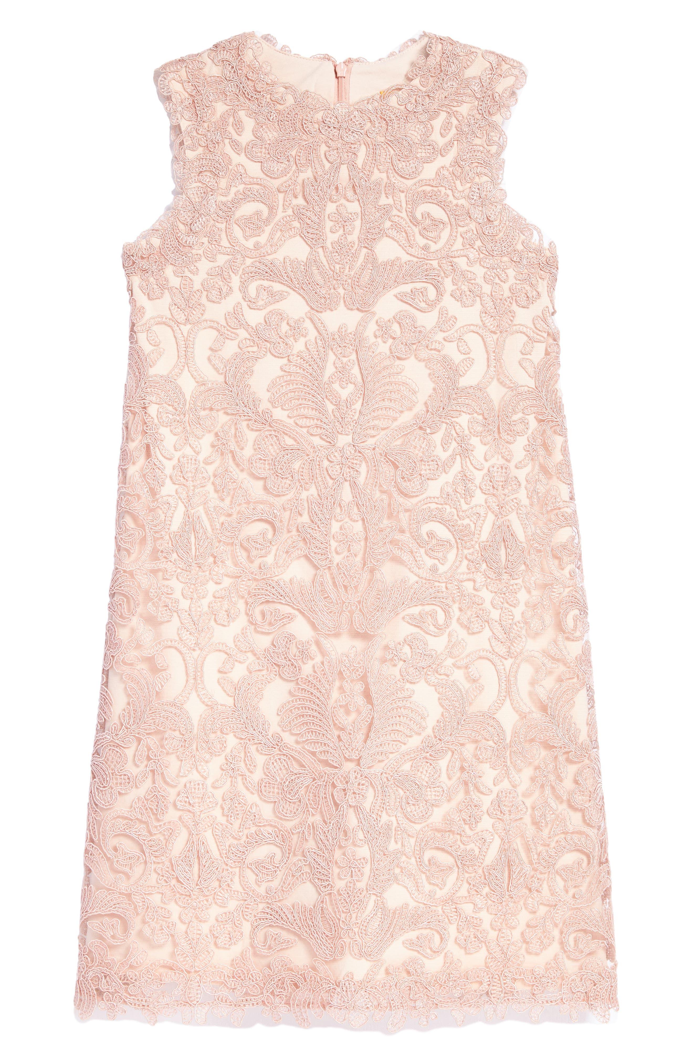Tadashi Shoji 'Honeysuckle' Embroidered Tulle Dress (Toddler Girls, Little Girls & Big Girls)