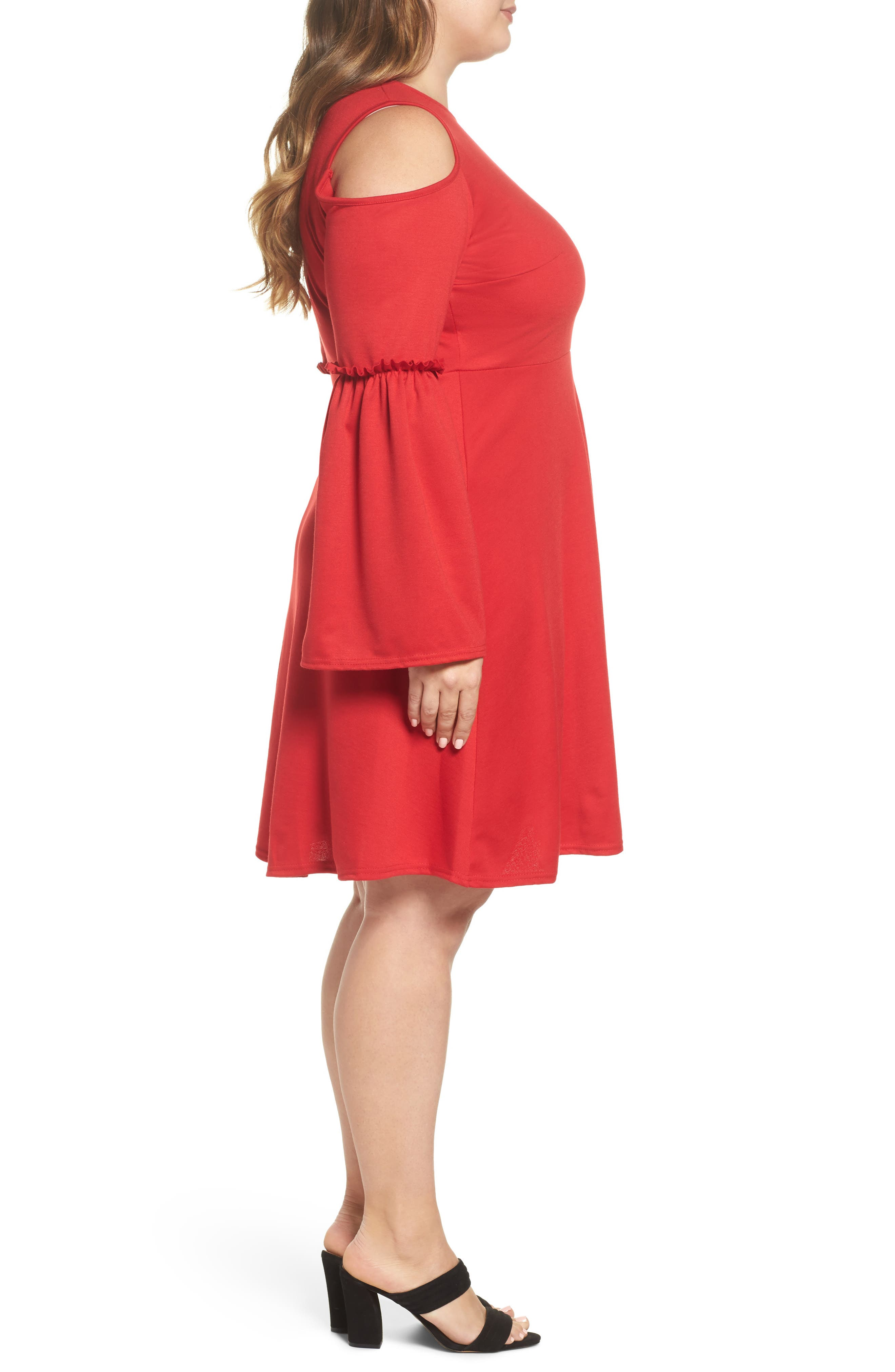 Alternate Image 3  - LOST INK Frill Sleeve Cold Shoulder Skater Dress (Plus Size)