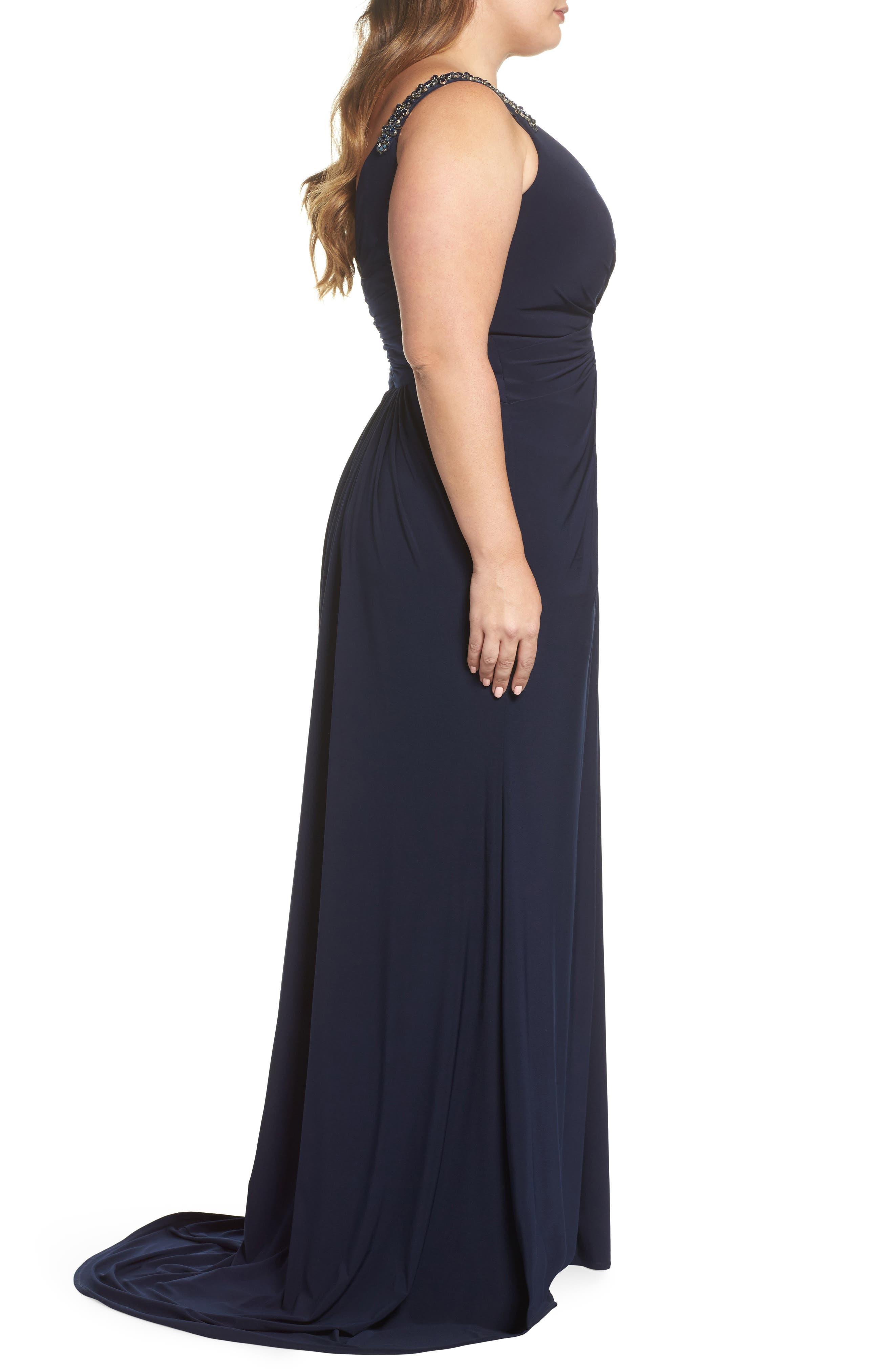Embellished Shoulder Jersey Gown,                             Alternate thumbnail 3, color,                             Navy