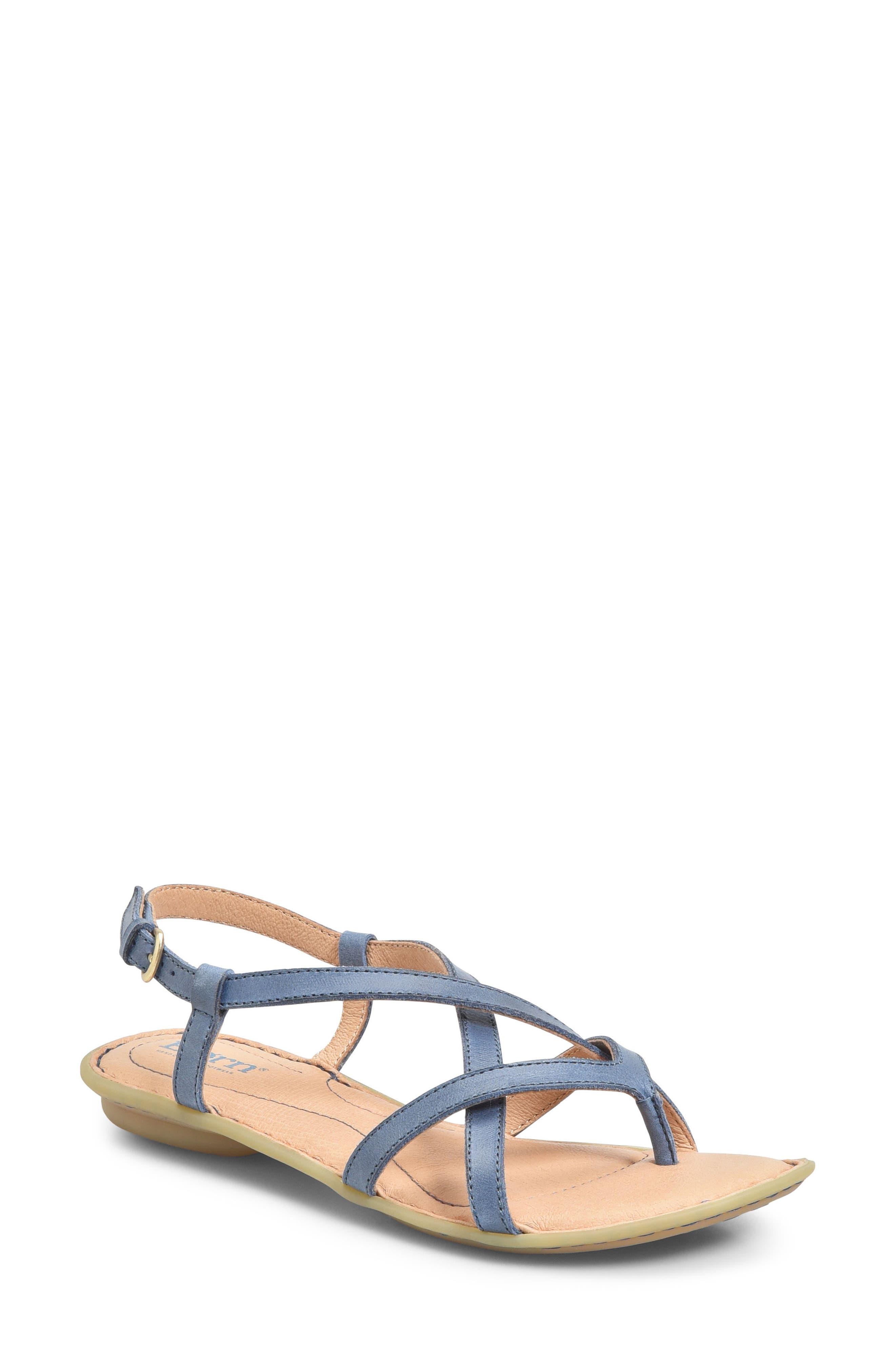 Mai Strap Sandal,                             Main thumbnail 1, color,                             Navy Leather