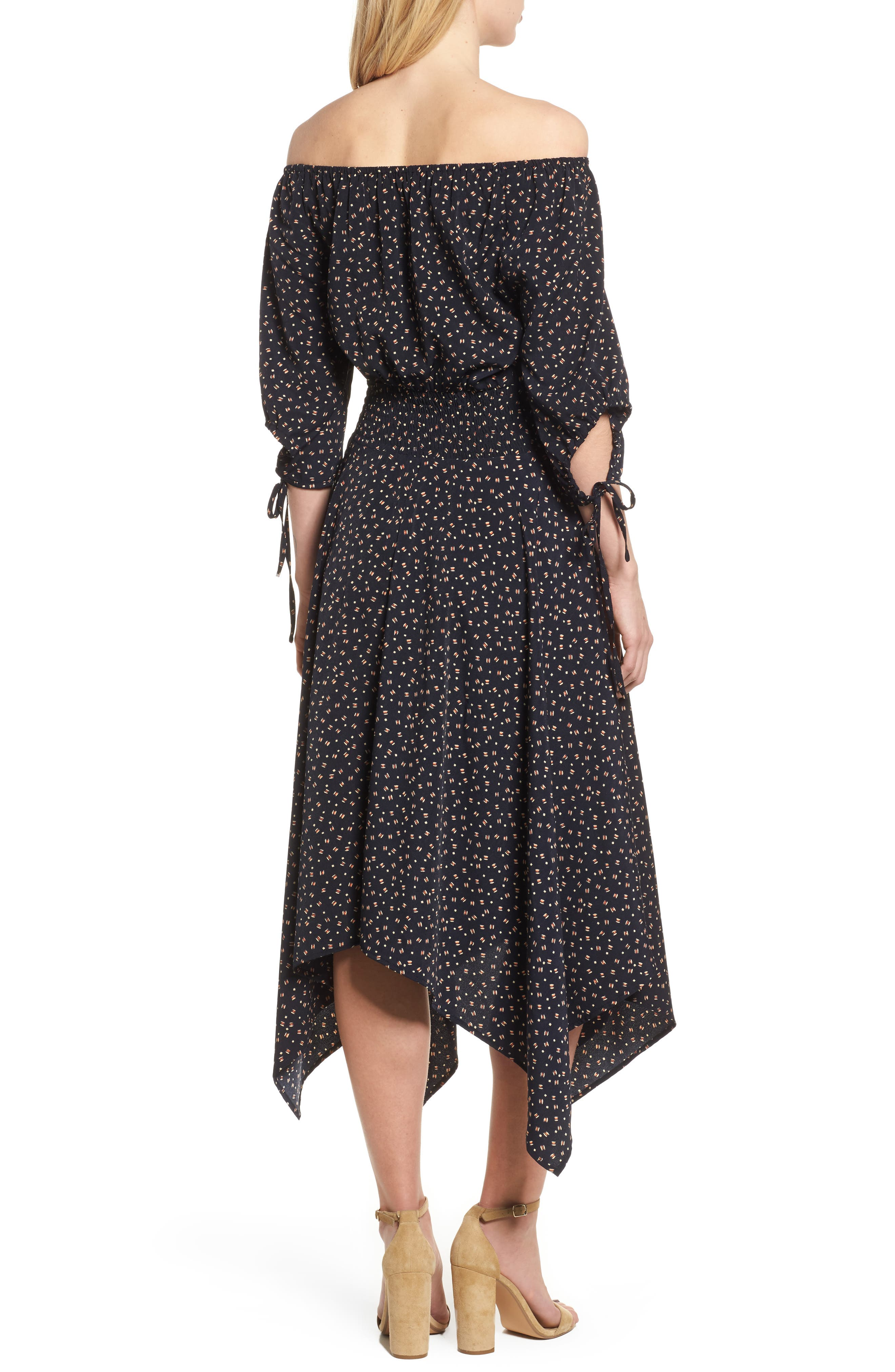 Bishop + Young Off the Shoulder Dress,                             Alternate thumbnail 2, color,                             Navy Print