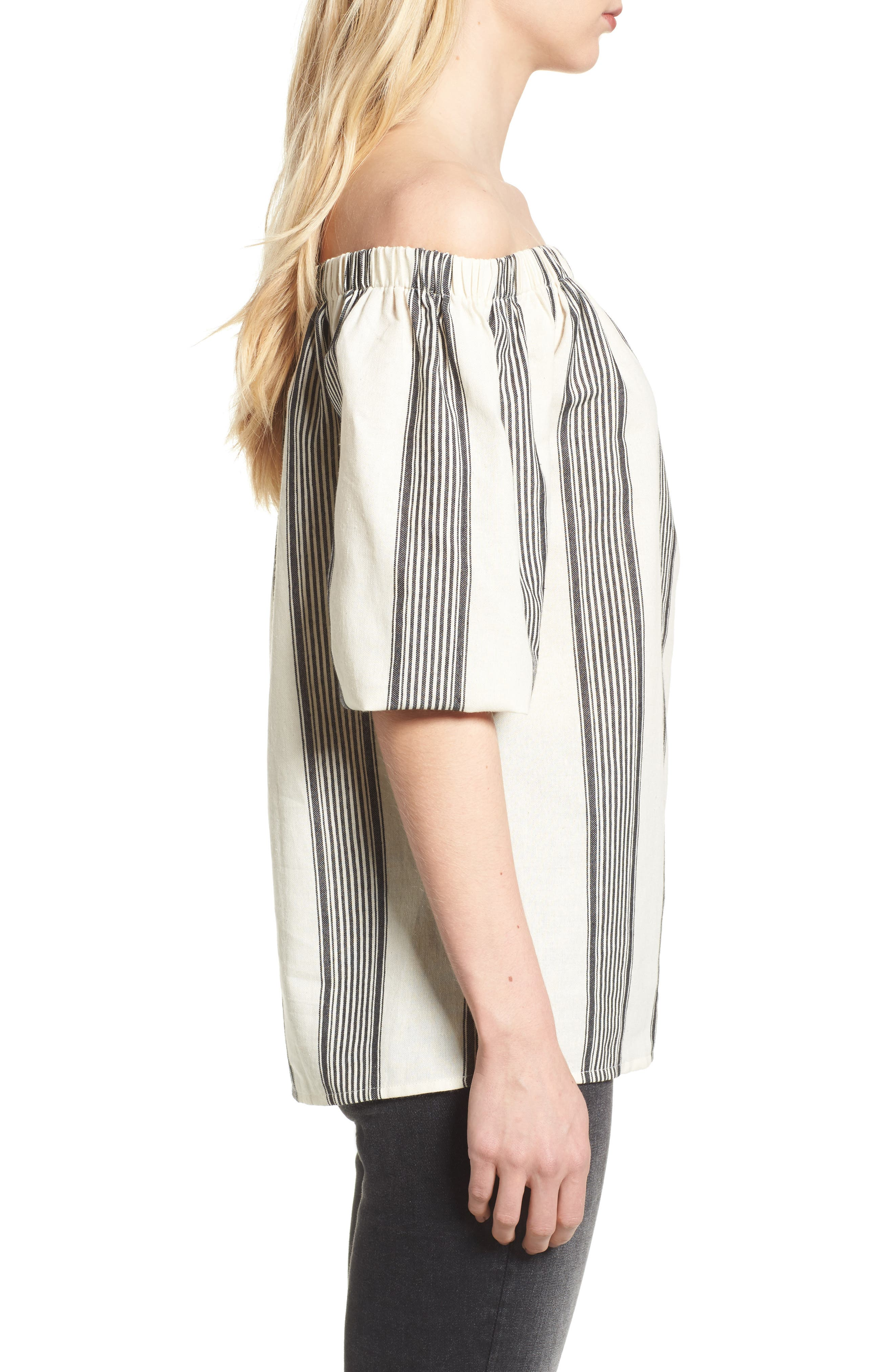 Bishop + Young Karlie Off the Shoulder Top,                             Alternate thumbnail 3, color,                             Grey Stripe