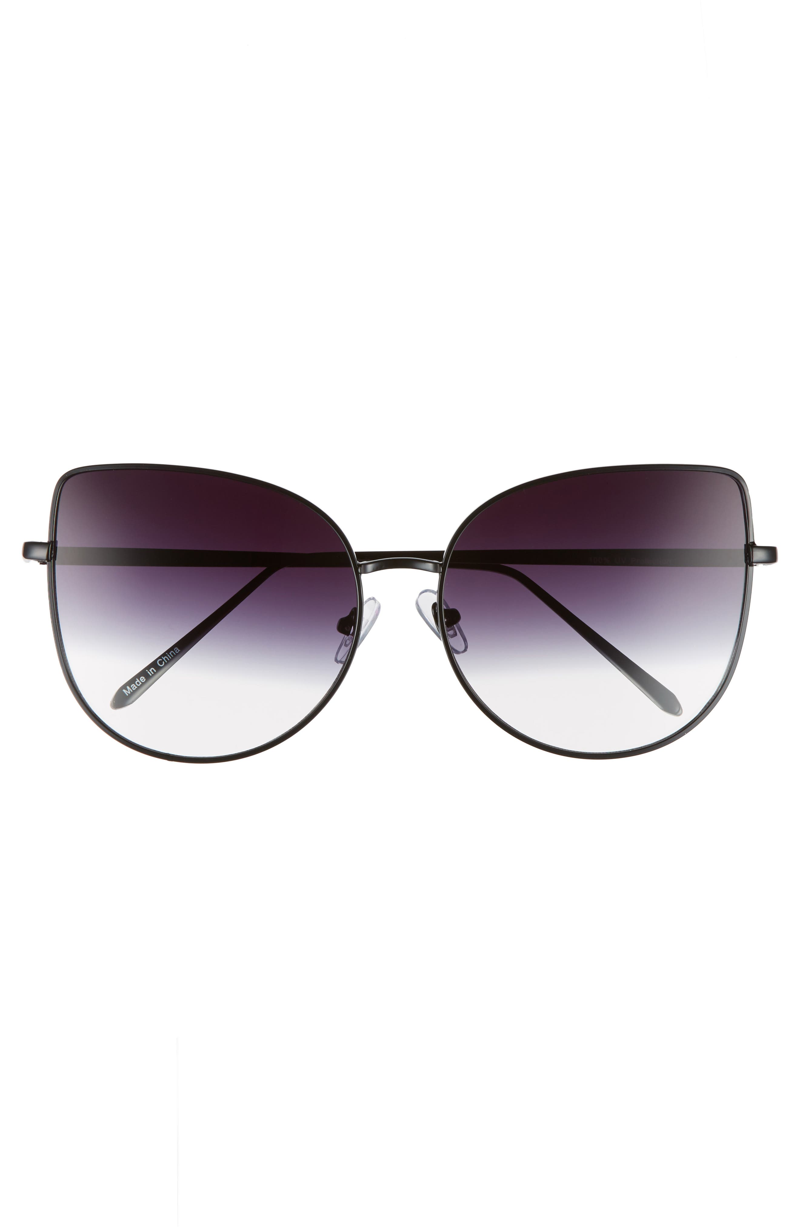 60mm Metal Cat Eye Sunglasses,                             Alternate thumbnail 3, color,                             Black/ Fade To Clear