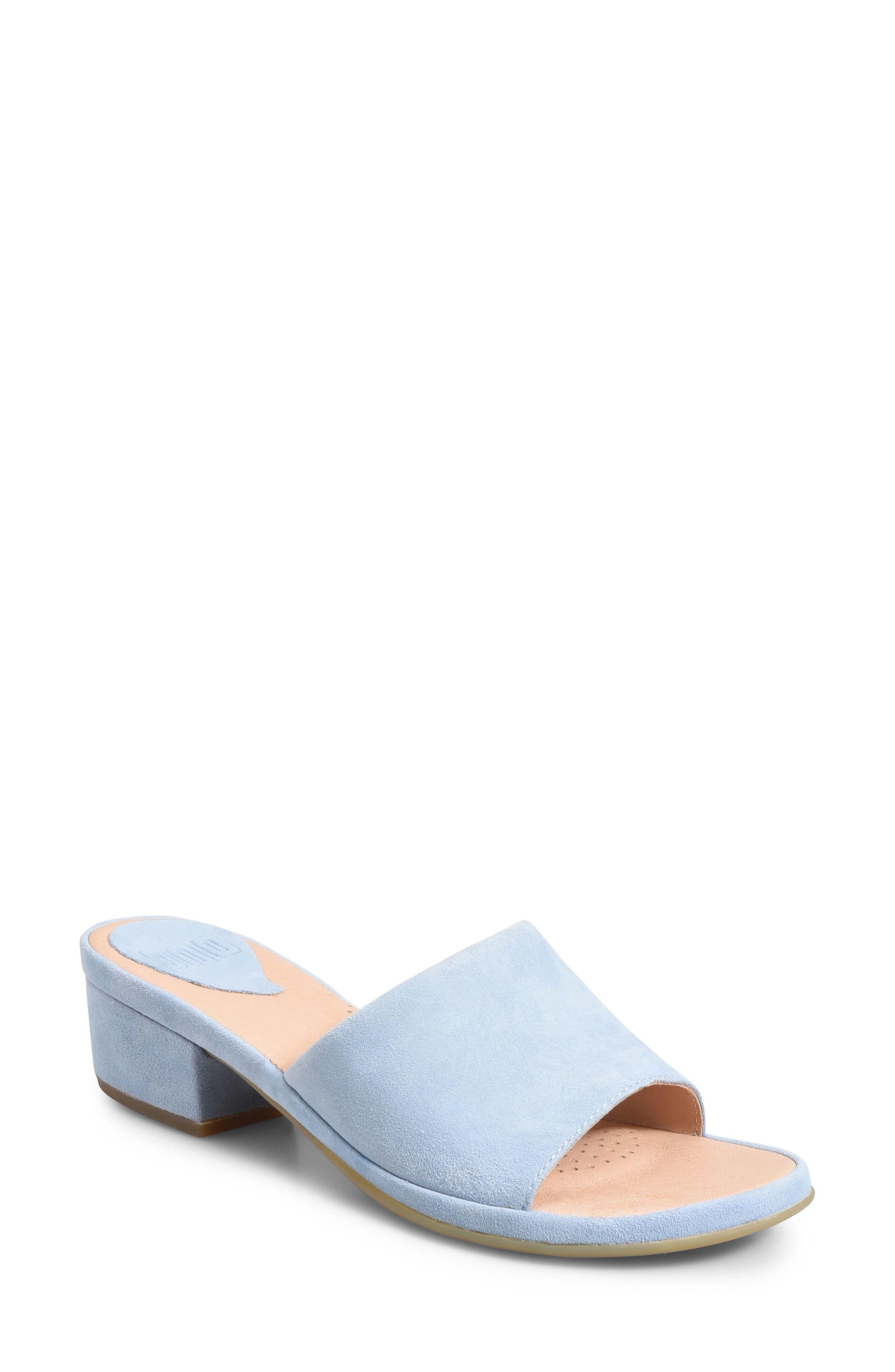 Bo Block Heel Slide Sandal,                             Main thumbnail 1, color,                             Light Blue Suede