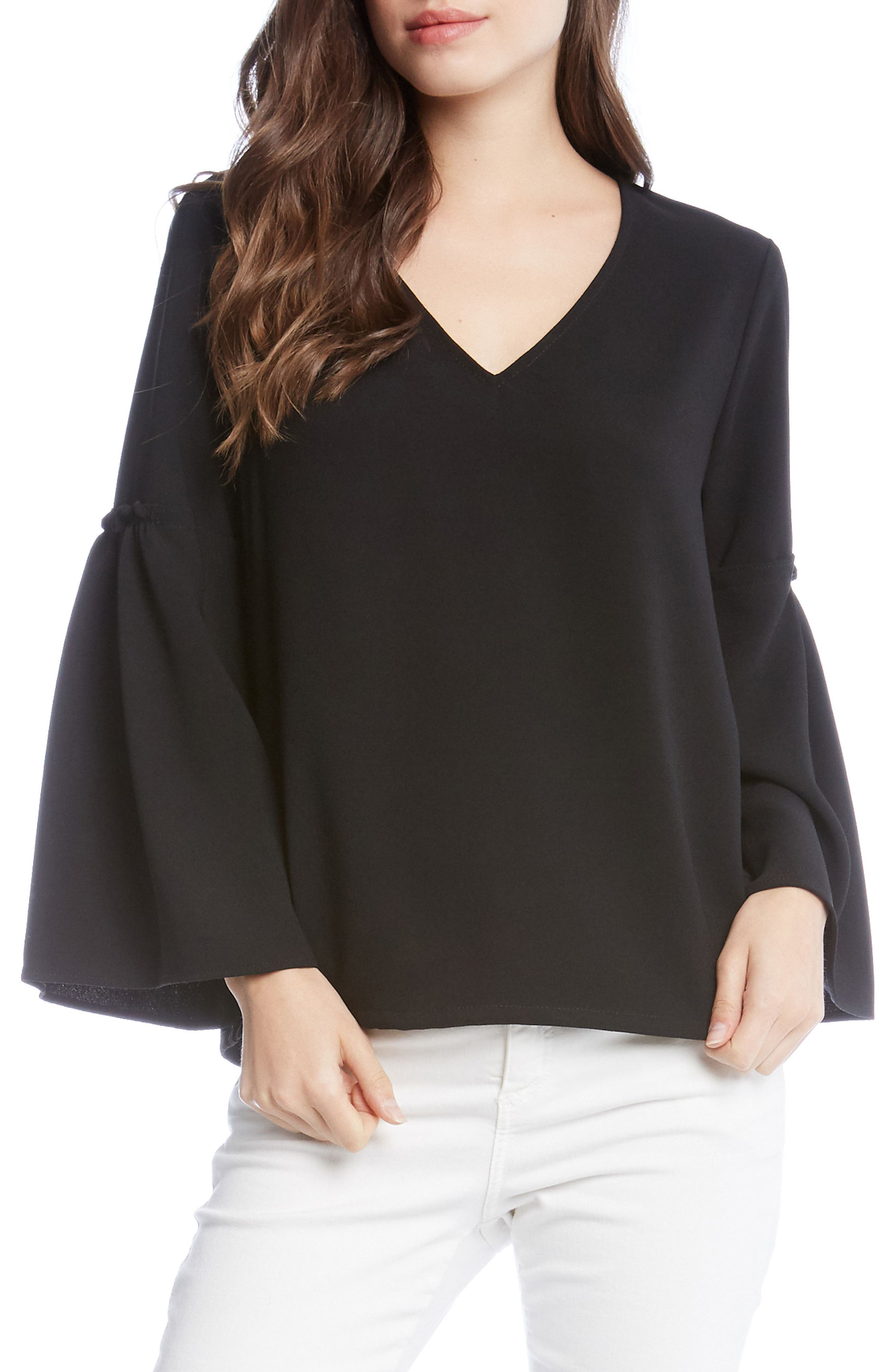 Bell Sleeve Crepe Top,                         Main,                         color, Black
