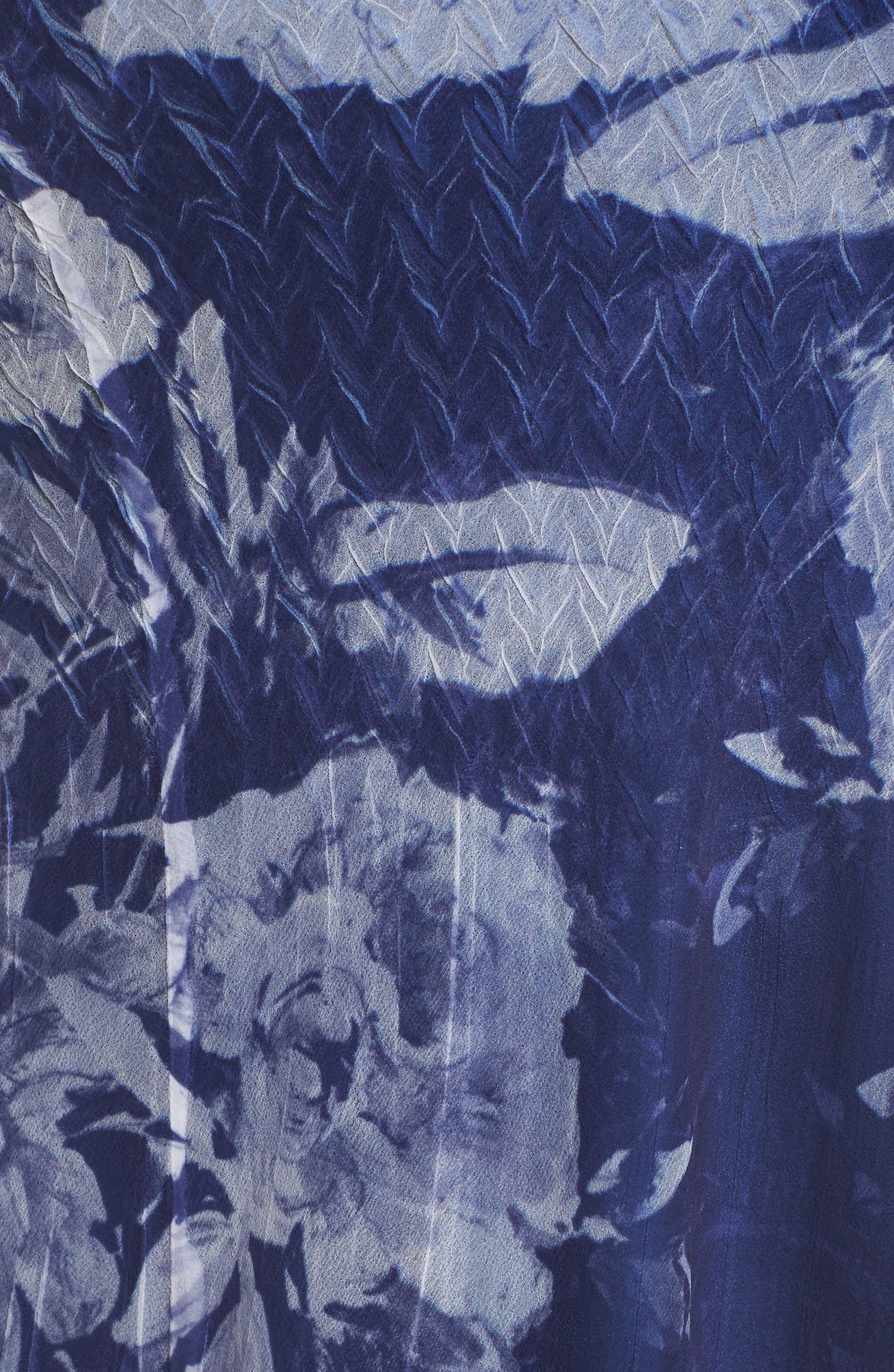 Print Chiffon Tiered Maxi Dress,                             Alternate thumbnail 5, color,                             Indigo Fields