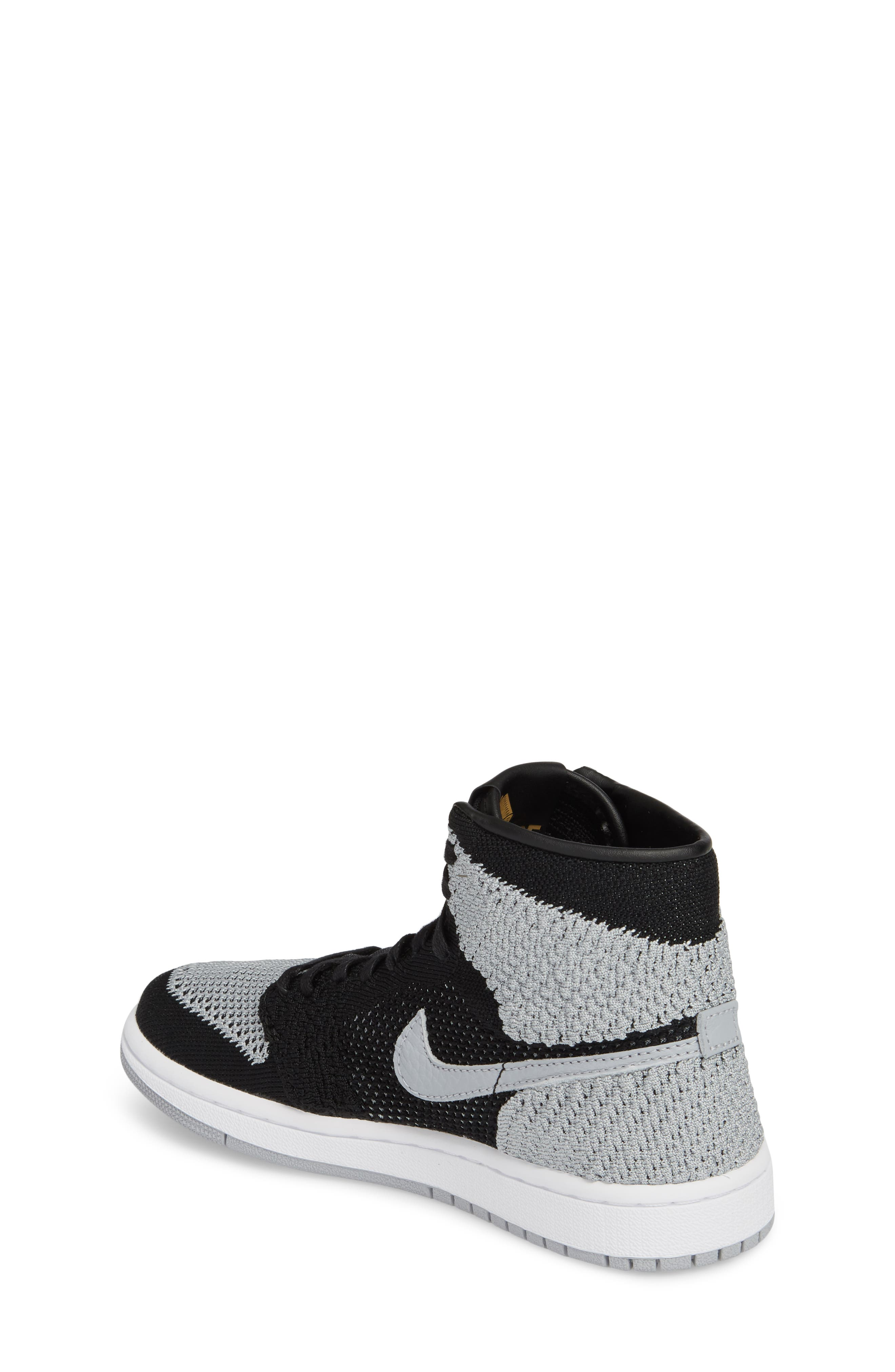 Nike Air Jordan 1 Retro High Flyknit Sneaker,                             Alternate thumbnail 2, color,                             Black/ Wolf Grey/ White