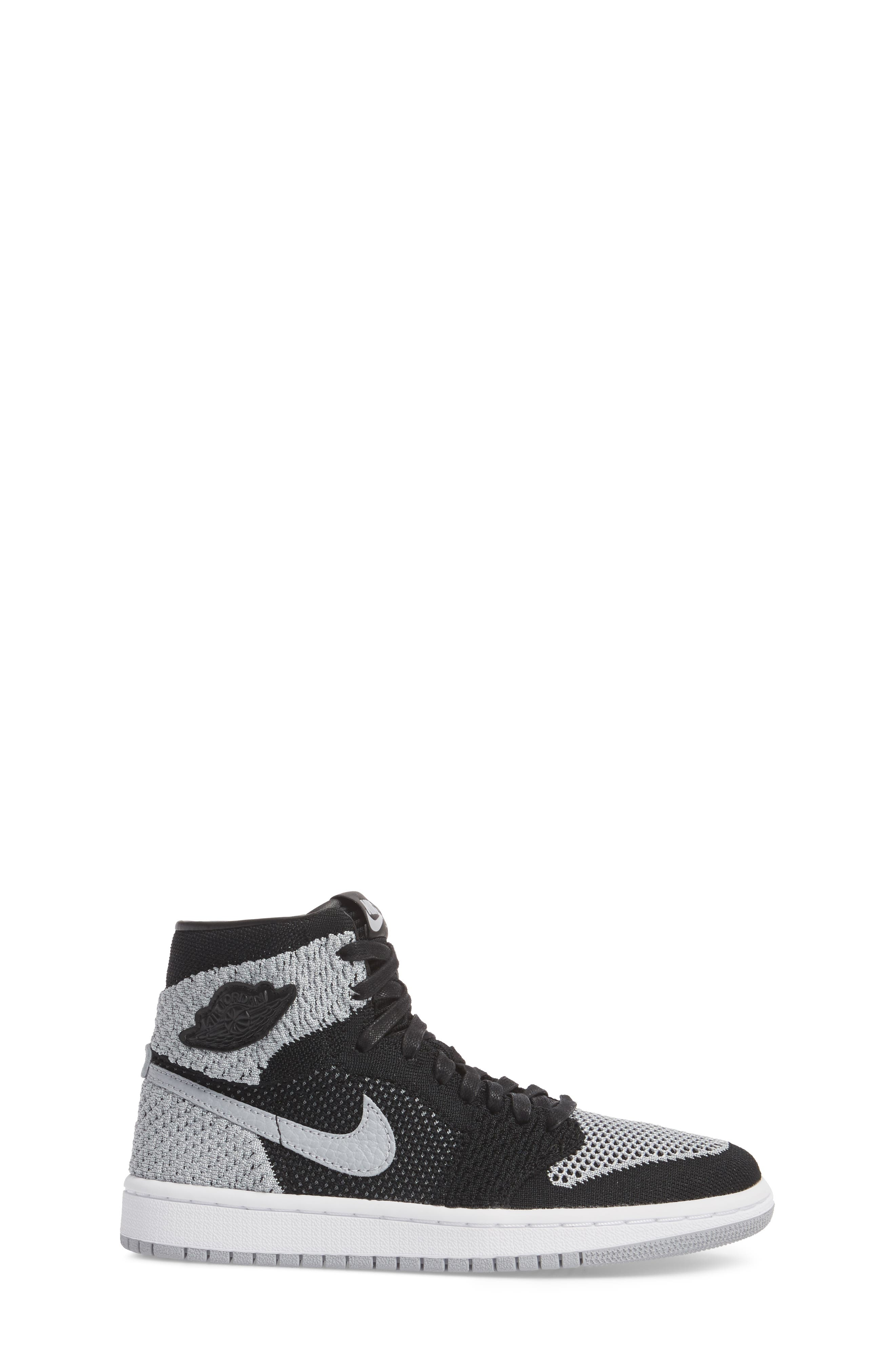 Nike Air Jordan 1 Retro High Flyknit Sneaker,                             Alternate thumbnail 3, color,                             Black/ Wolf Grey/ White