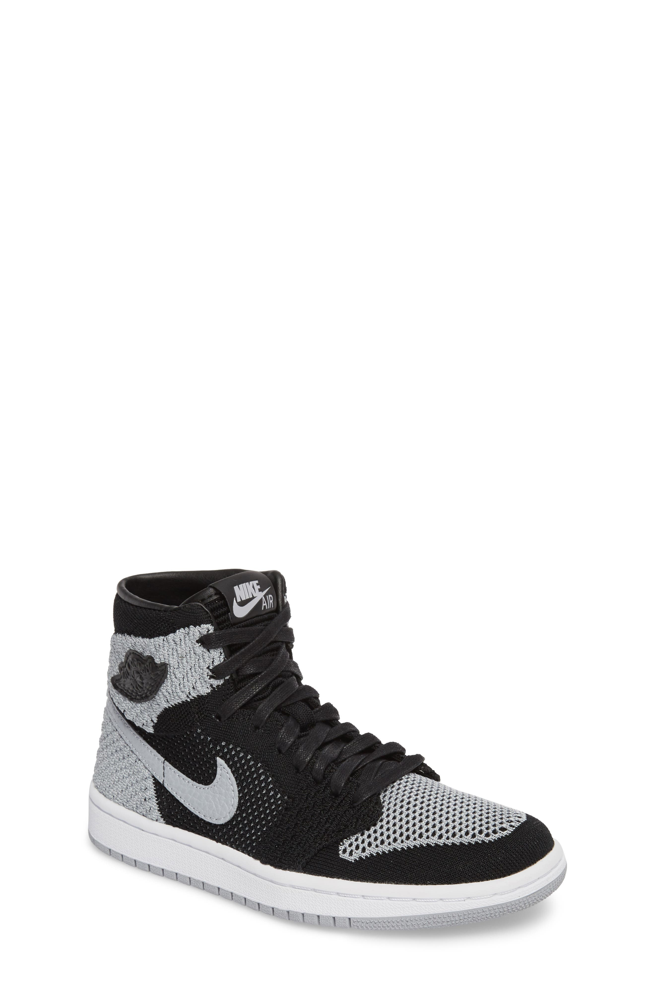 Nike Air Jordan 1 Retro High Flyknit Sneaker,                             Main thumbnail 1, color,                             Black/ Wolf Grey/ White